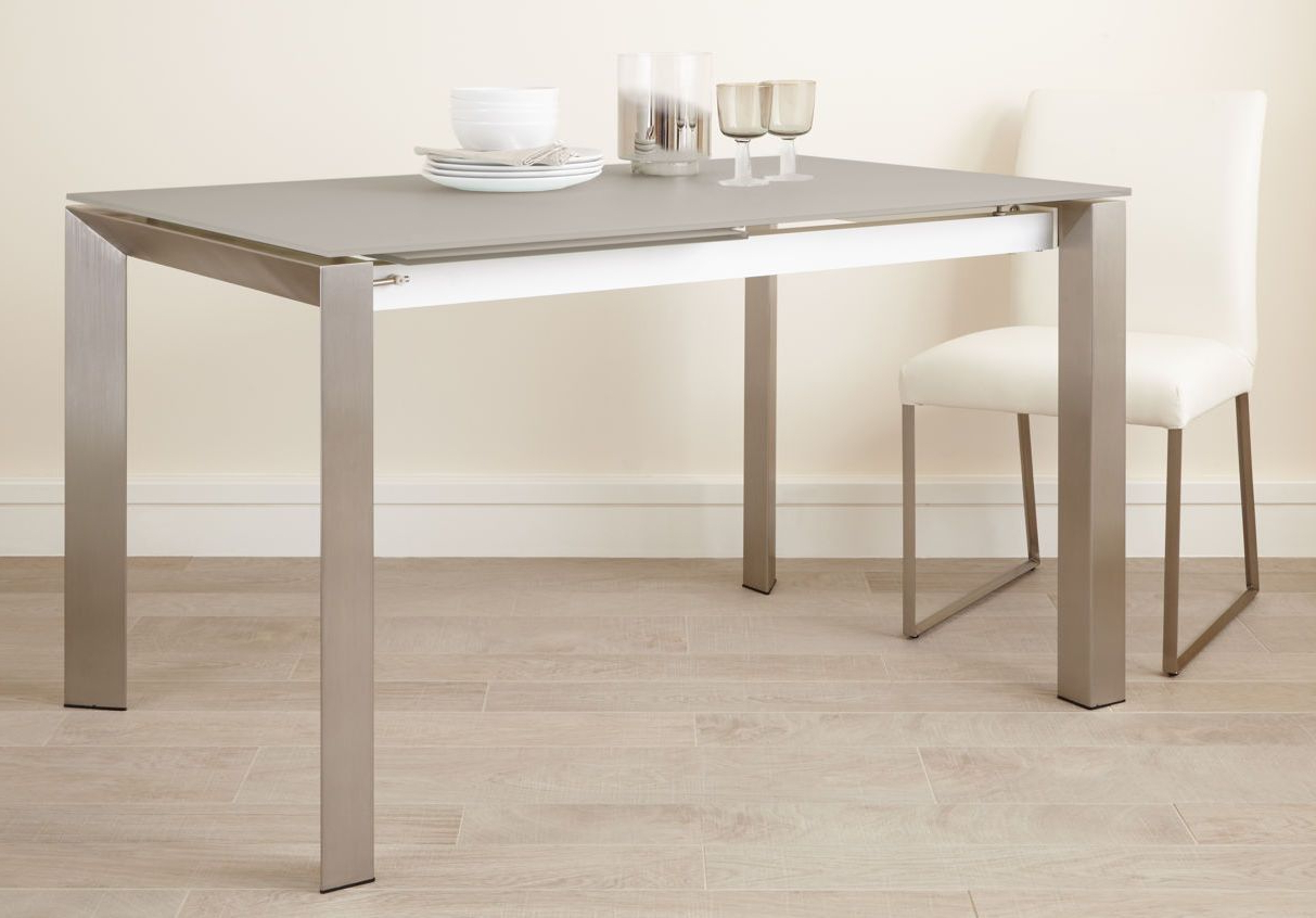 Glass Dining Tables With Metal Legs Throughout Latest Eve Frosted Glass Extending Dining Table In Grey And Brushed (View 6 of 25)