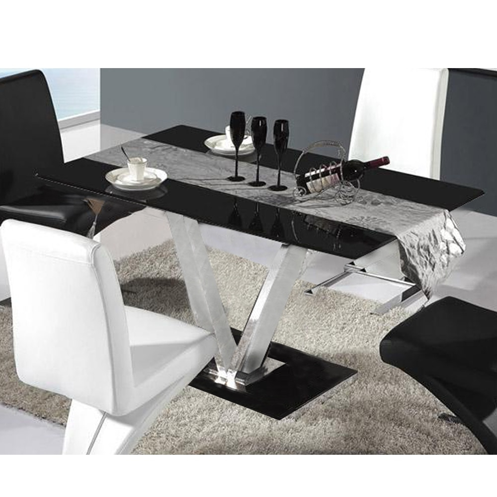 Glass Dining Tables With Metal Legs With Current Glass Dining Table For 6 Seater V Shape Table Metal Leg (View 15 of 25)