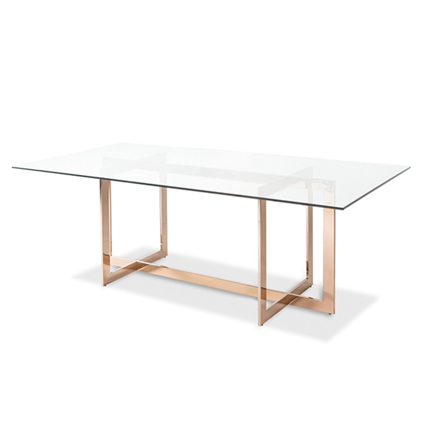 Glass Dining Tables With Metal Legs Within Well Known Carmelina Dining Table Rose Gold (View 7 of 25)