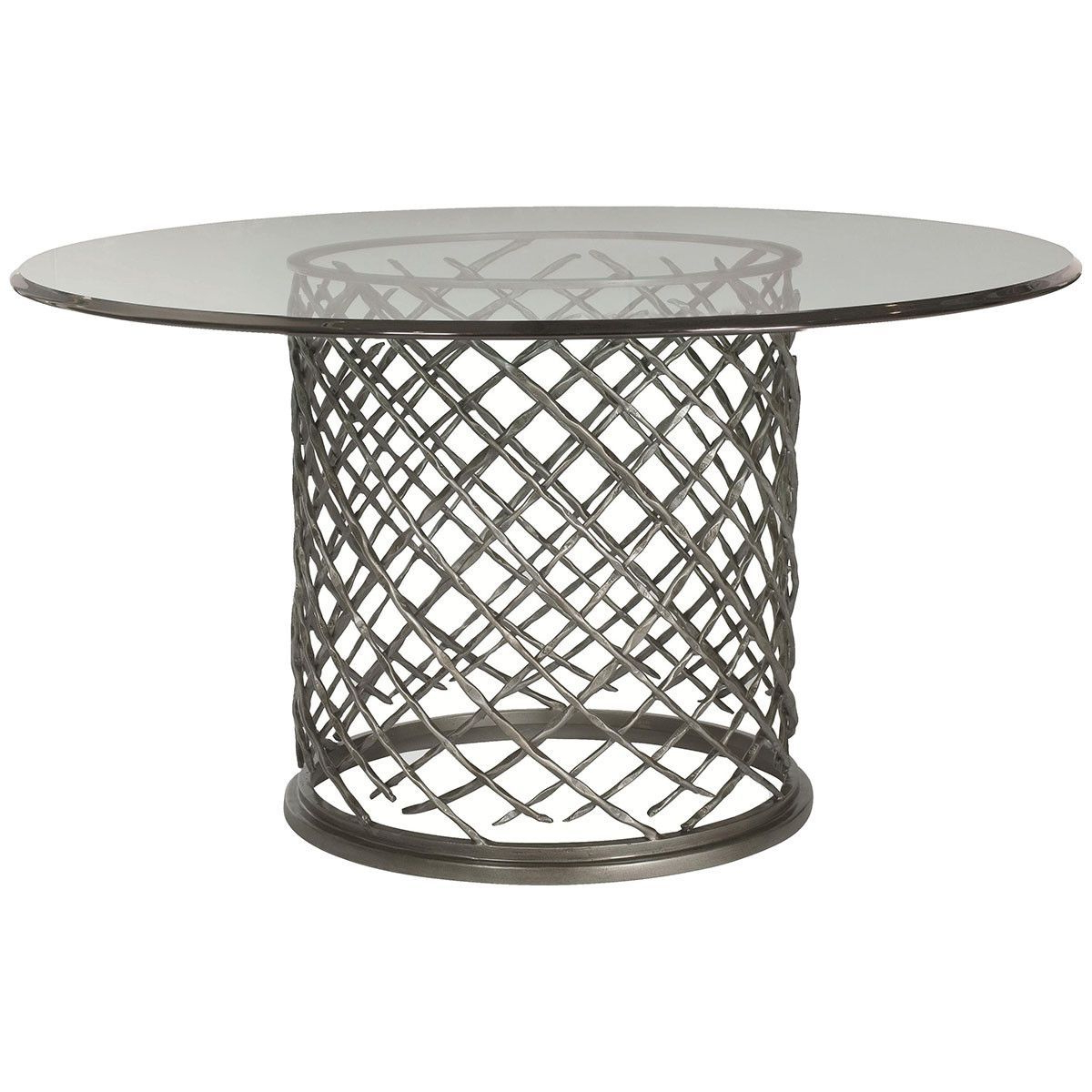 "Glass Top Condo Dining Tables In 2019 Bernhardt Interiors Hallam 54"" Metal Dining Table With Glass (View 5 of 25)"