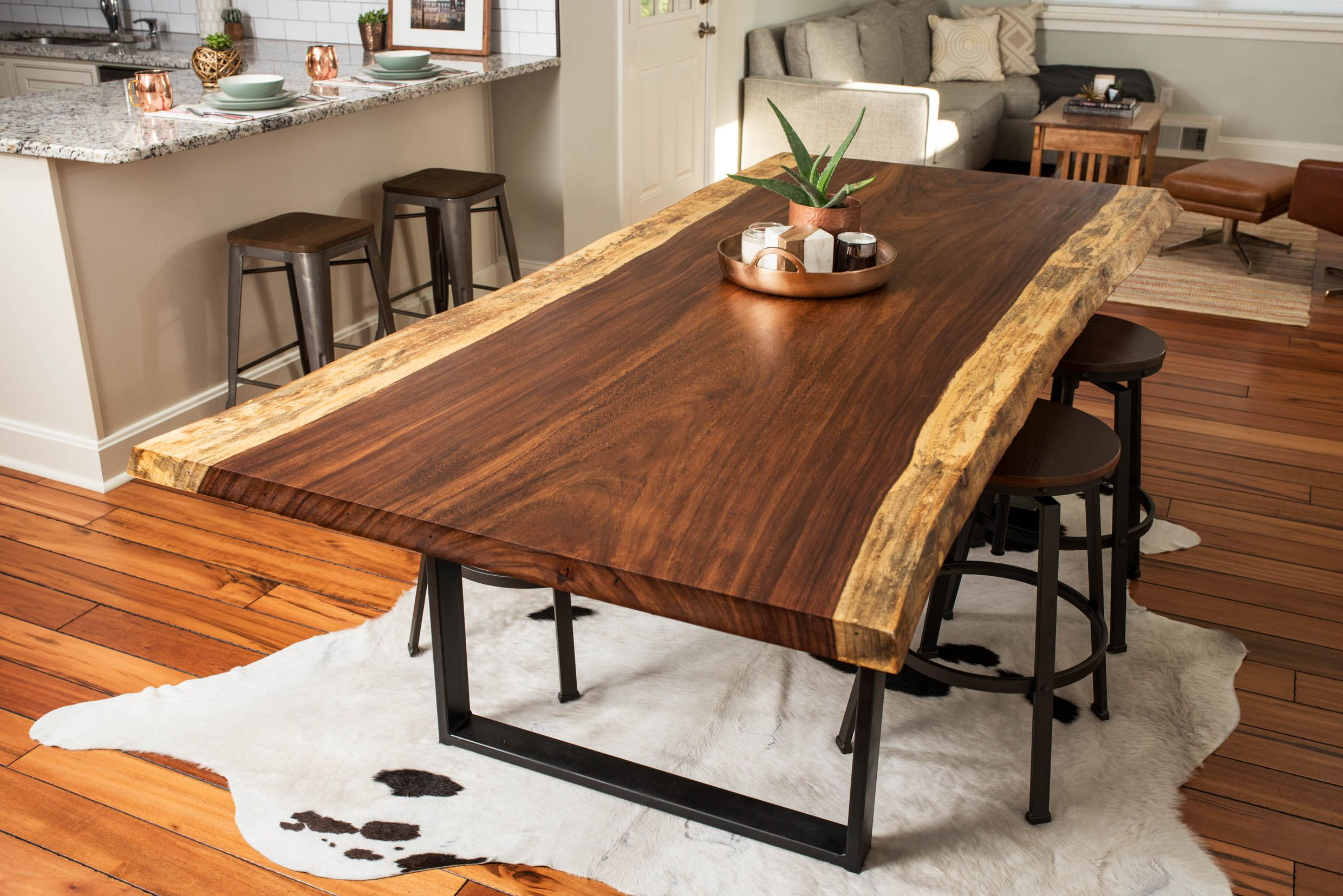 Hand Made Live Edge Acacia Dining/conference Tablebdc With Fashionable Acacia Dining Tables With Black X Legs (View 15 of 25)