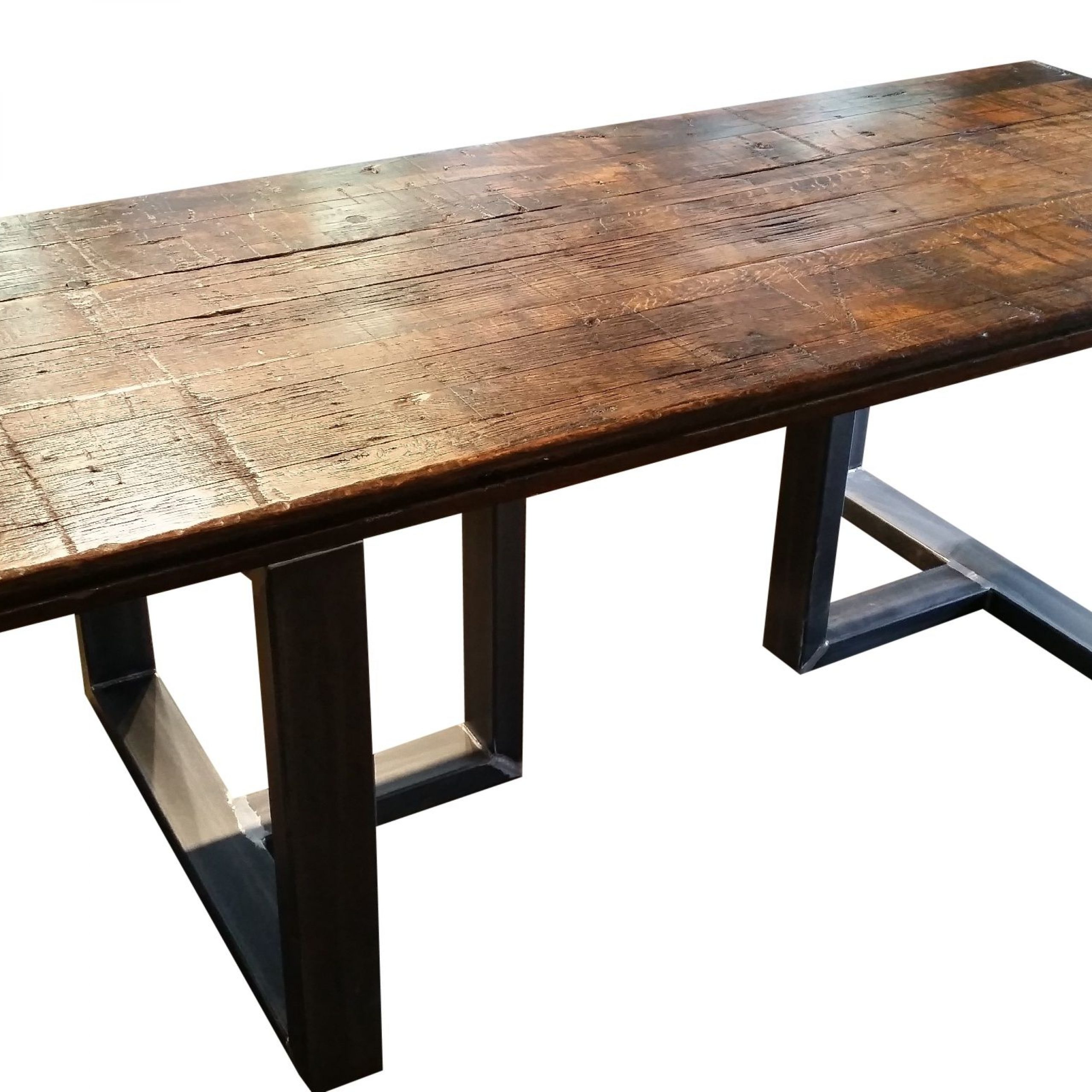 Hand Made Reclaimed Wood Dining Tableurban Ironcraft Pertaining To 2020 Iron Wood Dining Tables With Metal Legs (View 5 of 25)