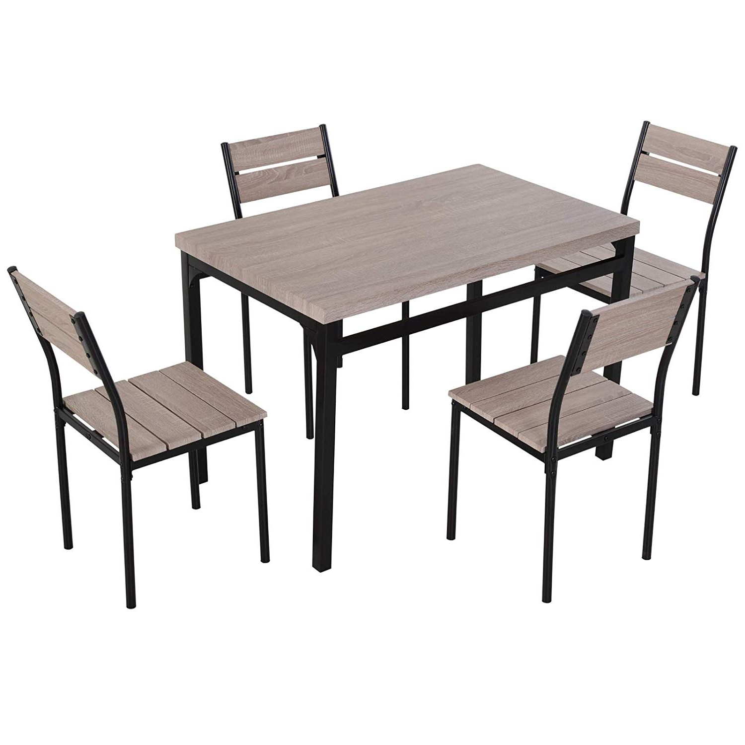 Homcom 5 Piece Transitional Style Dining Room Table Set With Chairs within Recent Large Rustic Look Dining Tables