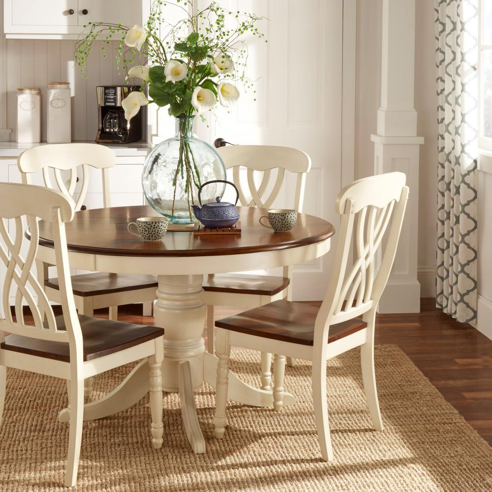 Homesullivan 5 Piece Antique White And Cherry Dining Set Regarding Latest Walnut And Antique White Finish Contemporary Country Dining Tables (View 9 of 25)