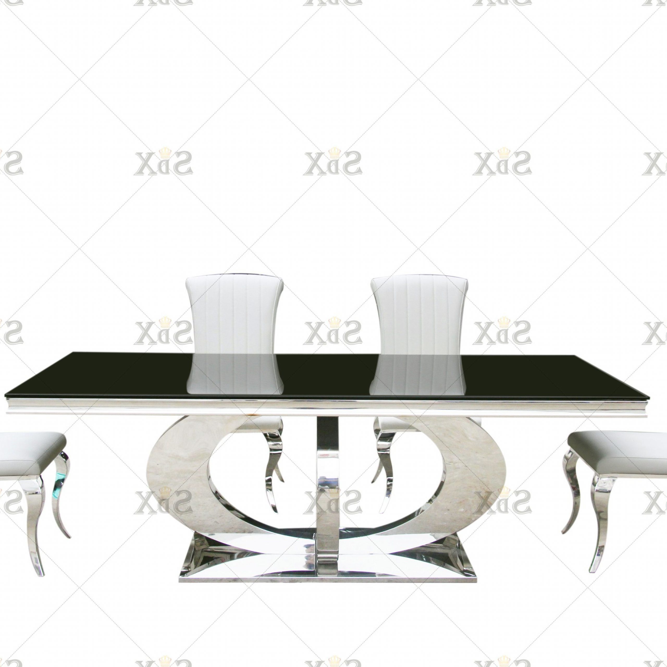 [%[Hot Item] Classic Black And White Polished Steel Base And Black Tempered  Glass Top With 6 Dining Chair Orion Dining Table Set In Trendy Long Dining Tables With Polished Black Stainless Steel Base|Long Dining Tables With Polished Black Stainless Steel Base Regarding Preferred [Hot Item] Classic Black And White Polished Steel Base And Black Tempered  Glass Top With 6 Dining Chair Orion Dining Table Set|Famous Long Dining Tables With Polished Black Stainless Steel Base With [Hot Item] Classic Black And White Polished Steel Base And Black Tempered  Glass Top With 6 Dining Chair Orion Dining Table Set|Trendy [Hot Item] Classic Black And White Polished Steel Base And Black Tempered  Glass Top With 6 Dining Chair Orion Dining Table Set Inside Long Dining Tables With Polished Black Stainless Steel Base%] (View 7 of 25)