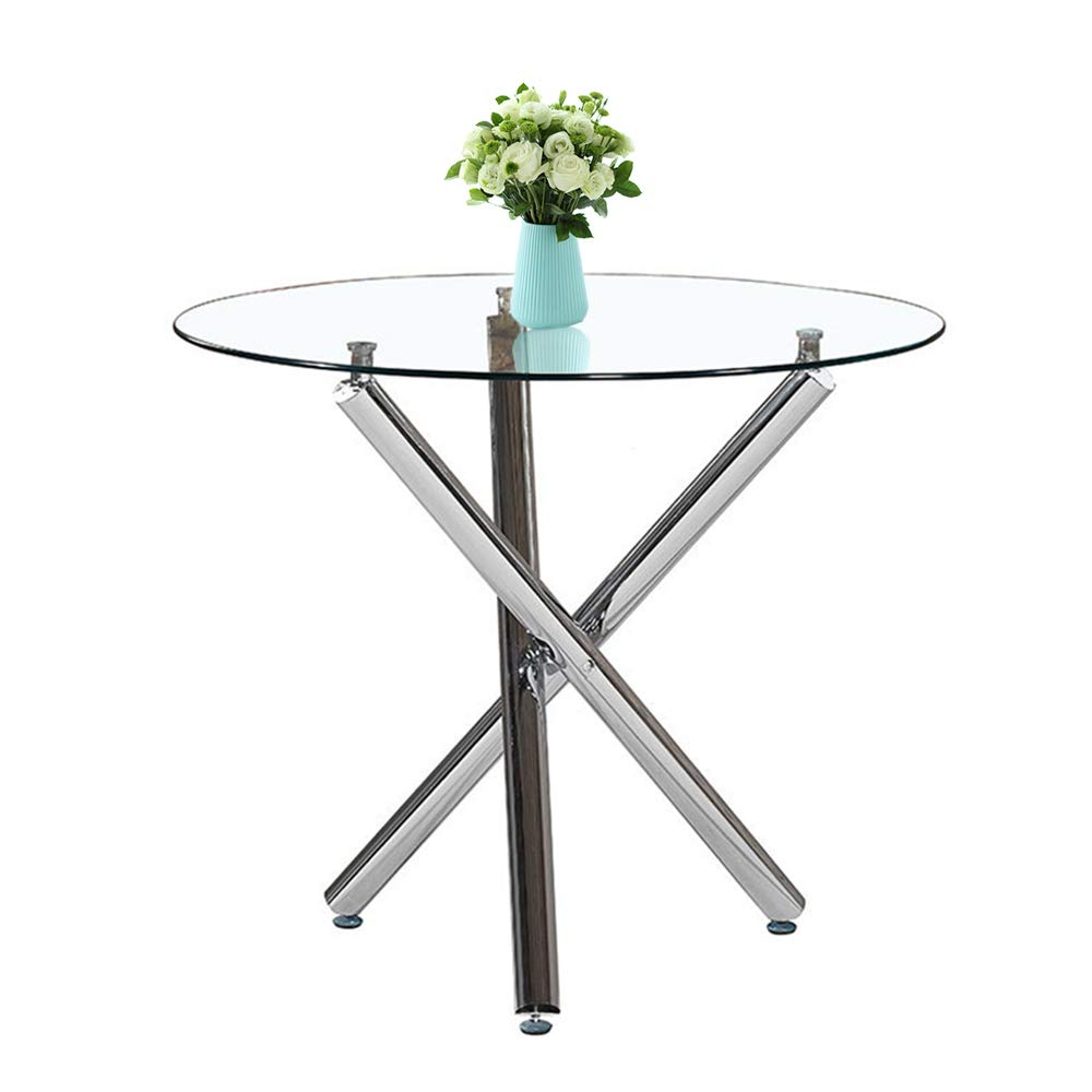 Inmozata Modern Dining Table, Round Glass Dining Table Tempered Glass With Chrome Legswarmiehomy for Well-known Chrome Dining Tables With Tempered Glass
