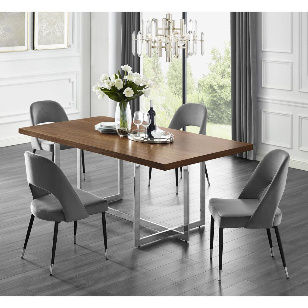 Inspired Home Davian 78.8 In. Walnut Wood Veneer Dining with regard to Most Current 4 Seater Round Wooden Dining Tables With Chrome Legs