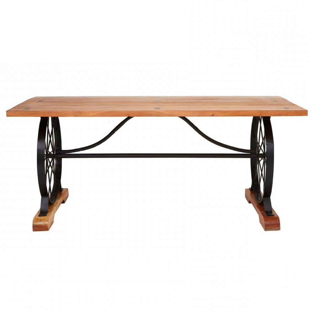 Iron Wood Dining Tables Regarding Well Known Clanbay Nandri Acacia Wood Dining Table, Acacia Wood, Iron, Brown (View 9 of 25)