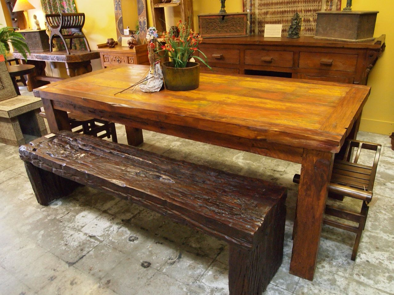 Iron Wood Dining Tables throughout Most Current Reclaimed Wood Dining Table & Rustic Ironwood Bench. Visit