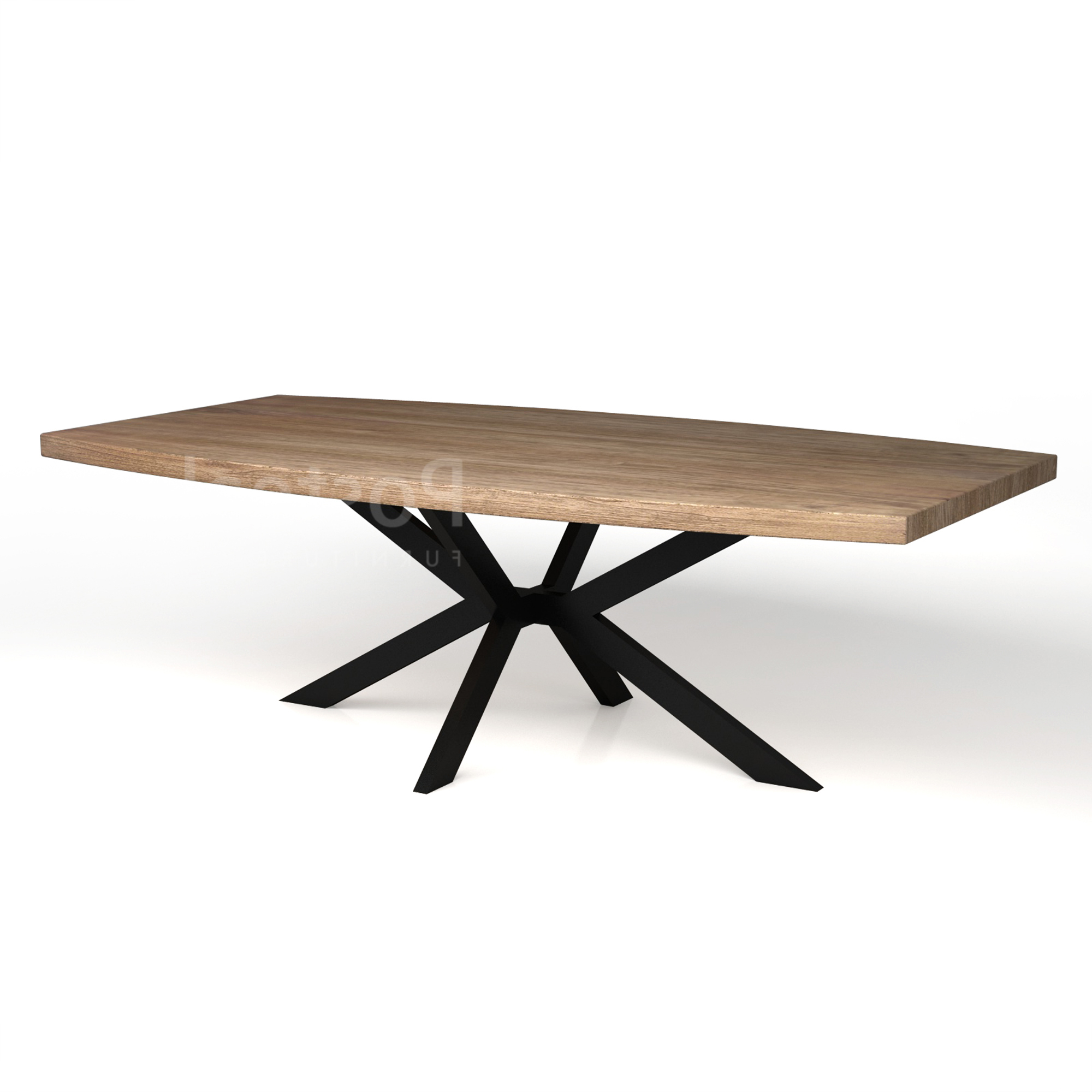 Iron Wood Dining Tables With Metal Legs intended for Newest Modern Dining Table - Iron Cross Legs
