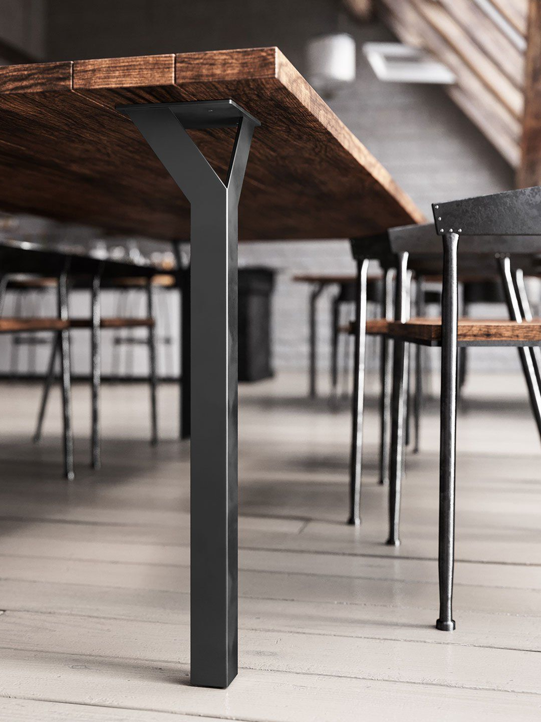 Iron Wood Dining Tables With Metal Legs With Well Liked Y Table Leg – Hollow Bodied Square Leg (View 3 of 25)