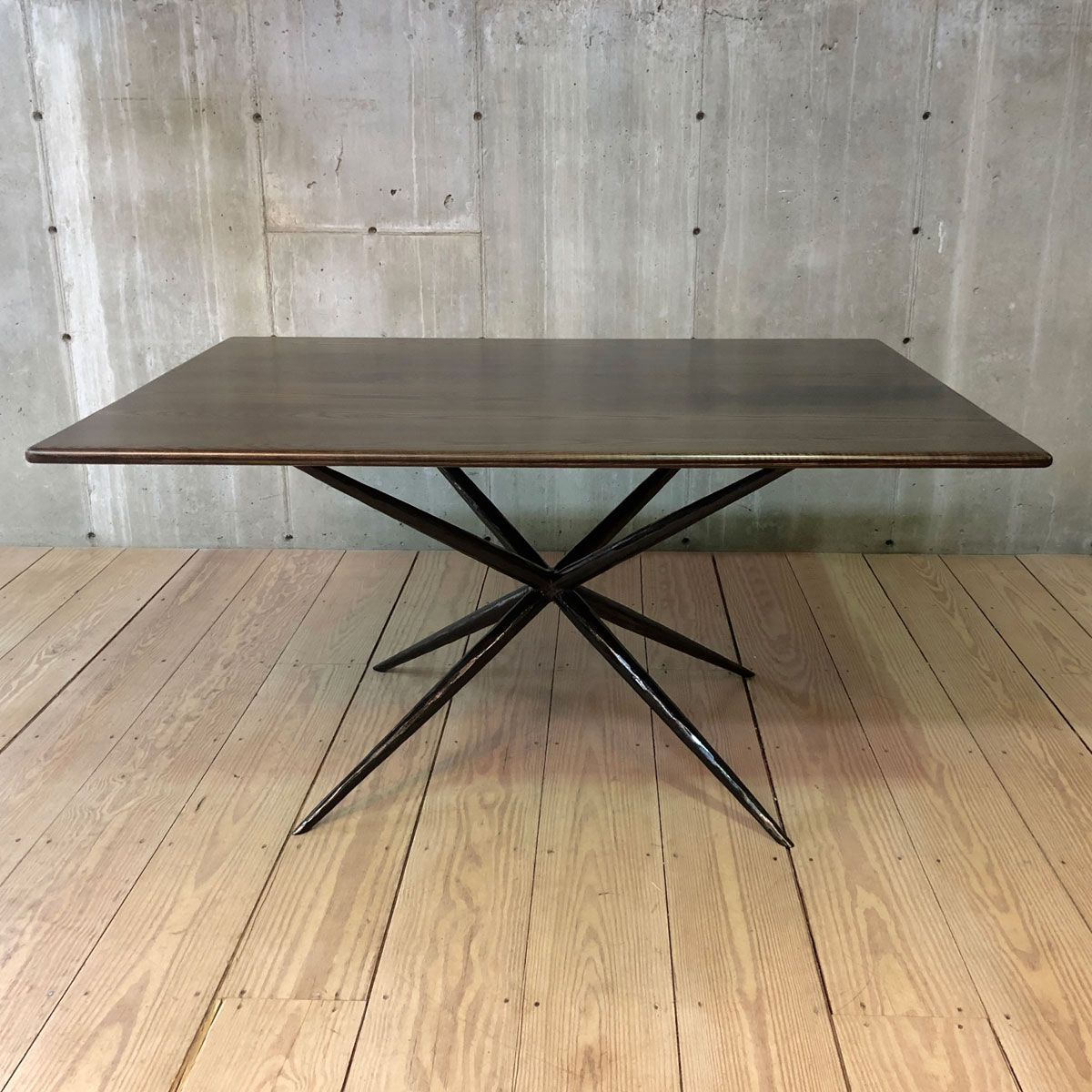 Italian Job Quad Base With Chamfered Shark Nose Edge within Popular Dining Tables With Stained Ash Walnut