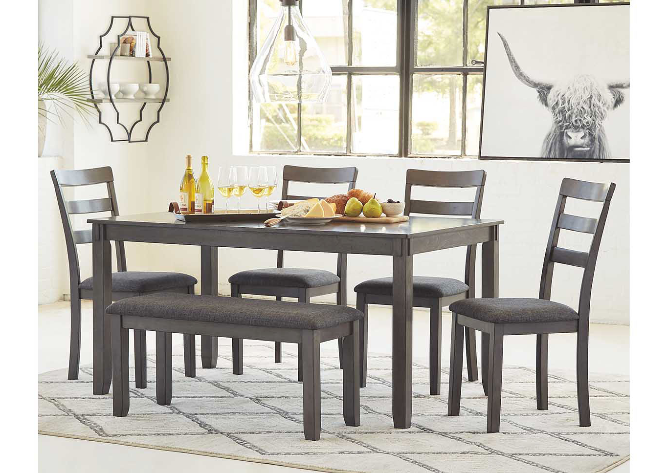 Ivan Smith Bridson Gray Dining Table W/chair And Bench (Set for Most Popular Transitional 6-Seating Casual Dining Tables