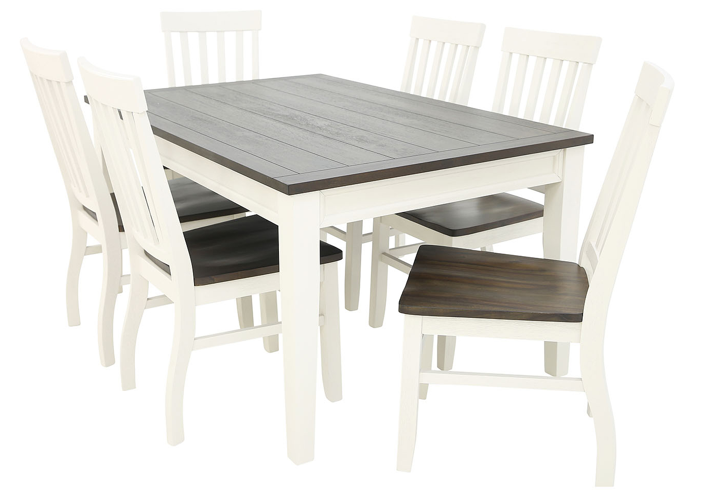 Ivan Smith Caylie 7 Piece Dining Throughout Fashionable Transitional Driftwood Casual Dining Tables (View 23 of 25)