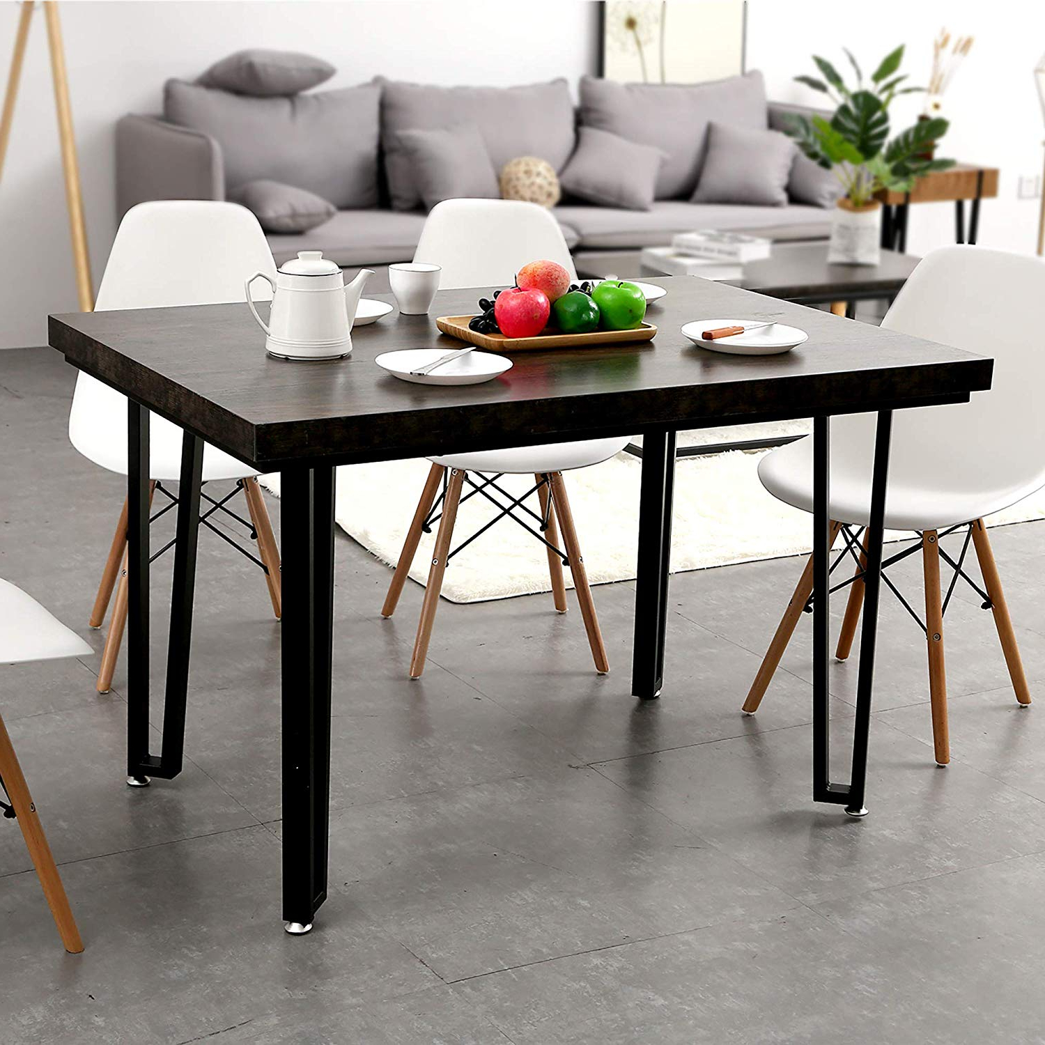 "Ivinta Alacrity 47.2"" Rustic Modern Farmhouse Matte Black Metal Rectangle Kitchen And Dining Room Table Mid Century Industrial in Most Recent Frosted Glass Modern Dining Tables With Grey Finish Metal Tapered Legs"