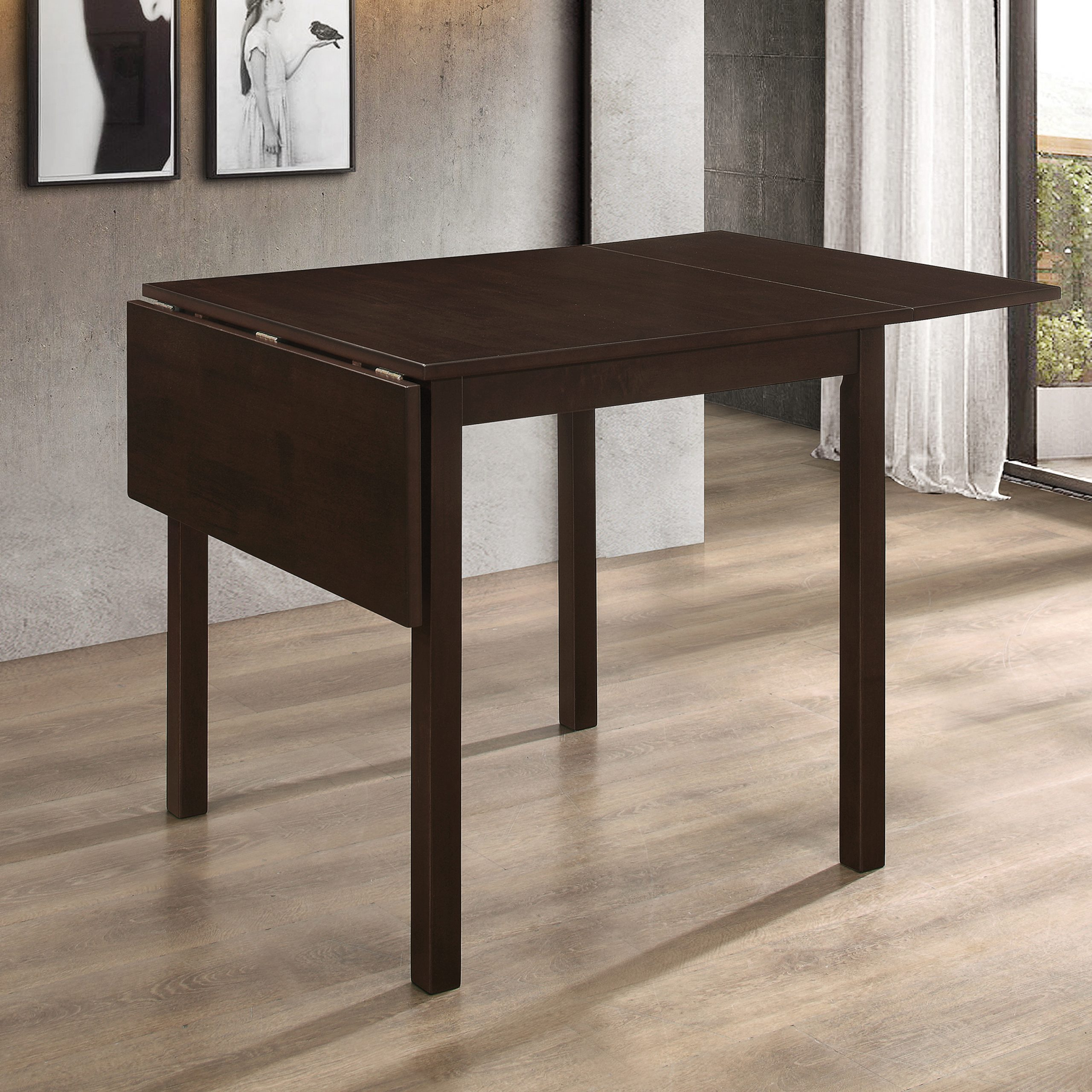 Kelso Rectangular Dining Table With Drop Leaf Cappuccino For Best And Newest Transitional 3 Piece Drop Leaf Casual Dining Tables Set (View 9 of 25)