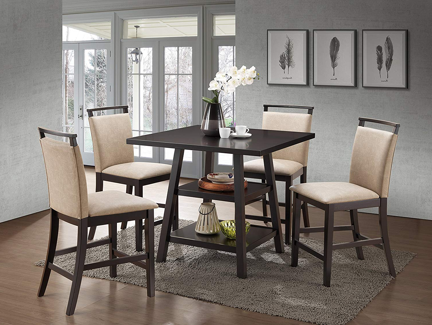 Kings Brand Aloe 5 Piece Cappuccino Wood Counter Height Dining Set, Table With 4 Clay Upholstered Chairs Regarding Favorite Cappuccino Finish Wood Classic Casual Dining Tables (View 2 of 25)