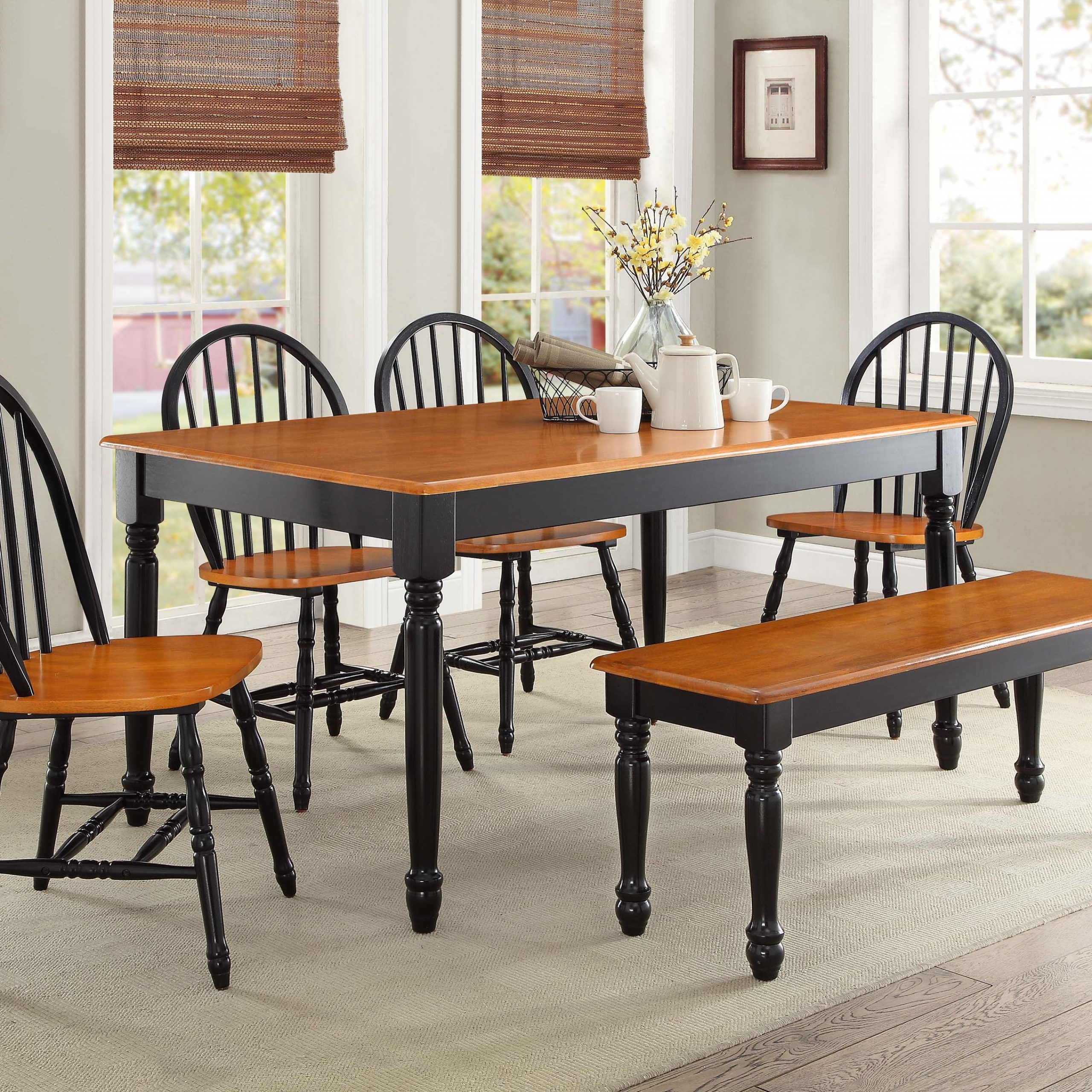 Kitchen And Dining Room Chairs Wood : Kitchen And Dining with regard to Well-known Antique Black Wood Kitchen Dining Tables