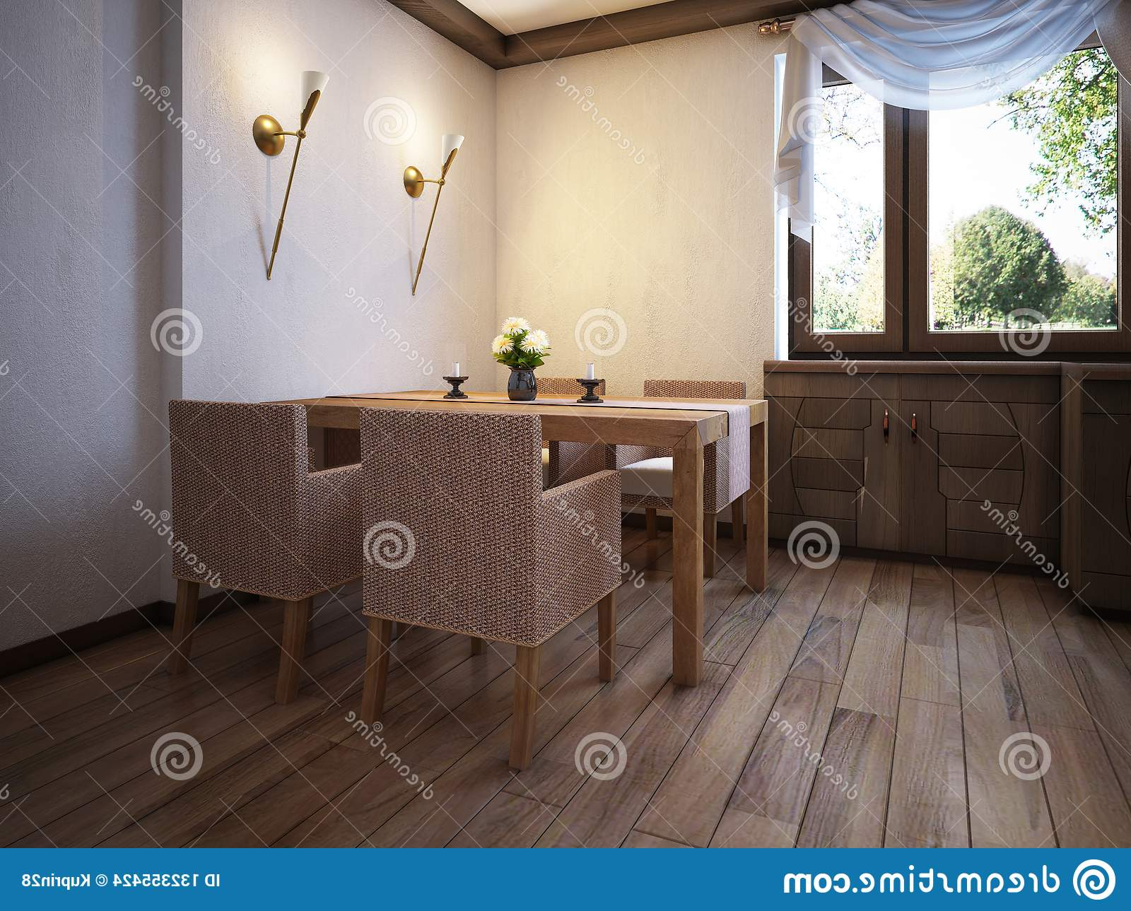 Large Rustic Look Dining Tables Inside Most Recent Kitchen Rustic Style With A Dining Table And Wooden (View 12 of 25)