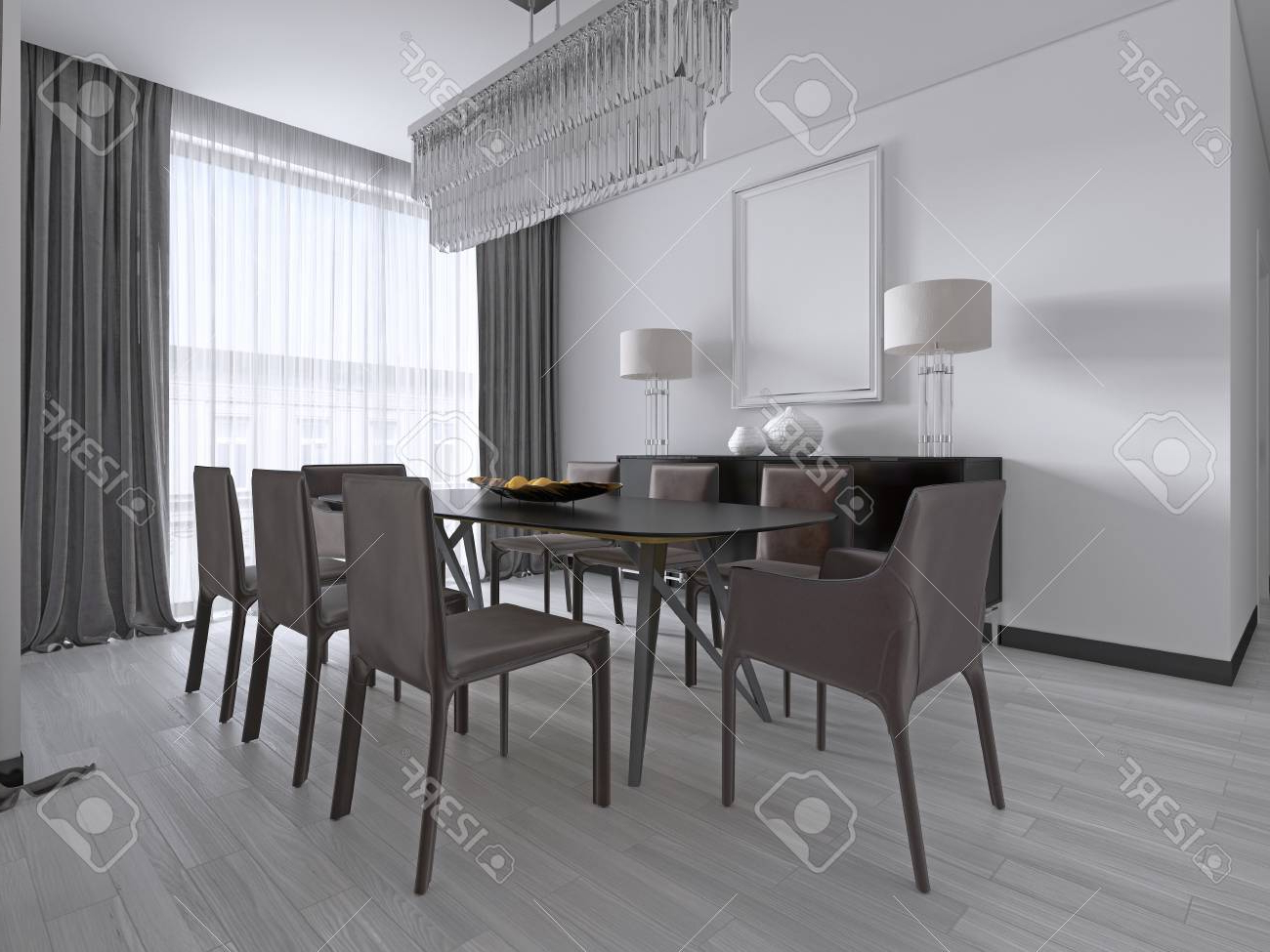Latest Contemporary Rectangular Dining Tables Pertaining To Contemporary Dining Room With A Large Rectangular Dining Table. (View 8 of 25)