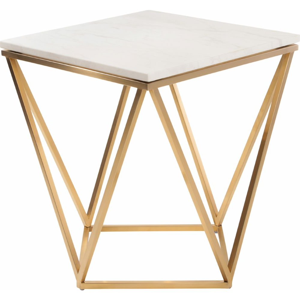 Latest Dynamic Home Decor – Jasmine Side Table W/ White Marble On Intended For Dining Tables With Brushed Gold Stainless Finish (View 17 of 25)