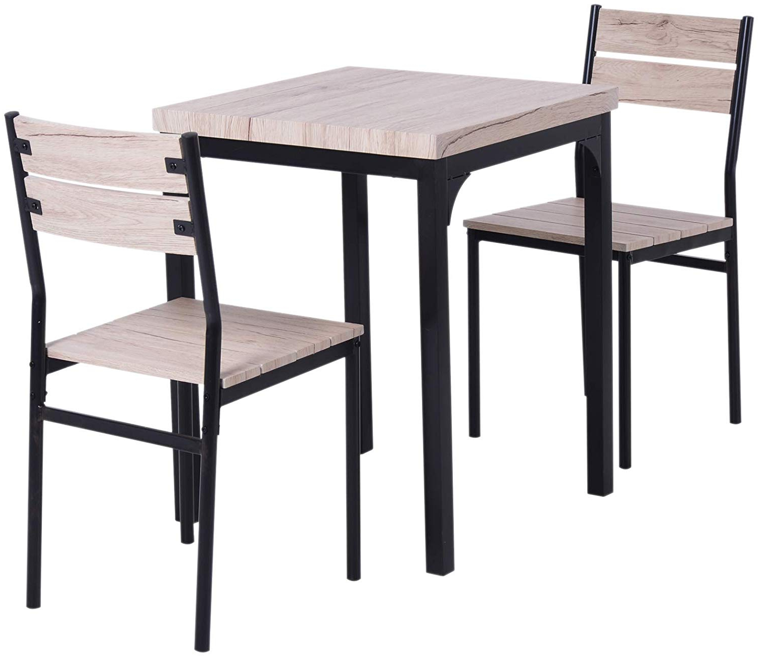 Latest Homcom Rustic Country Wood Top 3 Piece Kitchen Table Dining Set W/chairs Regarding Rustic Country 8 Seating Casual Dining Tables (View 5 of 25)