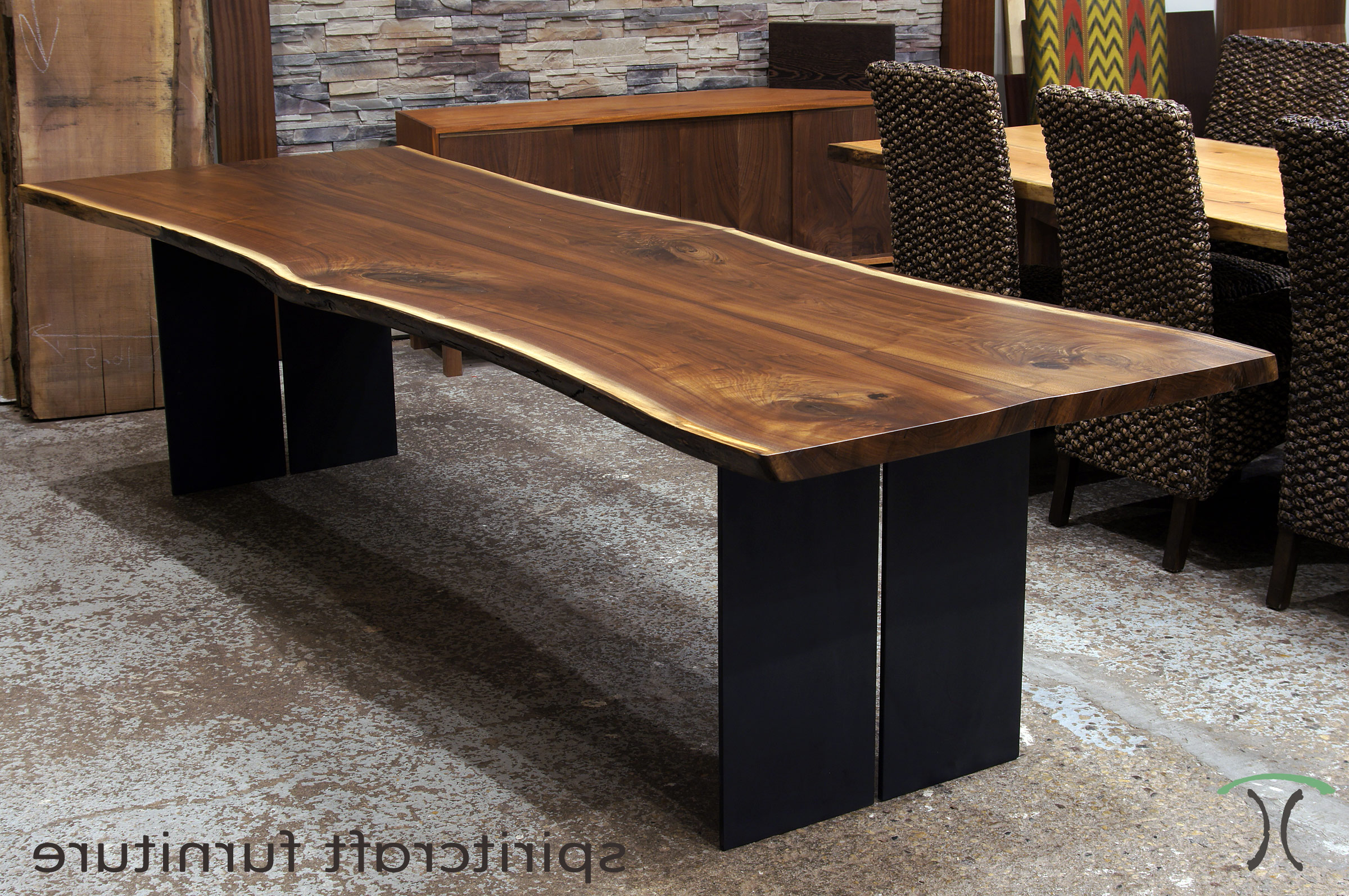 Latest Live Edge Slab Dining Tables, Walnut Slabs And Tops Inside Walnut Finish Live Edge Wood Contemporary Dining Tables (View 10 of 25)