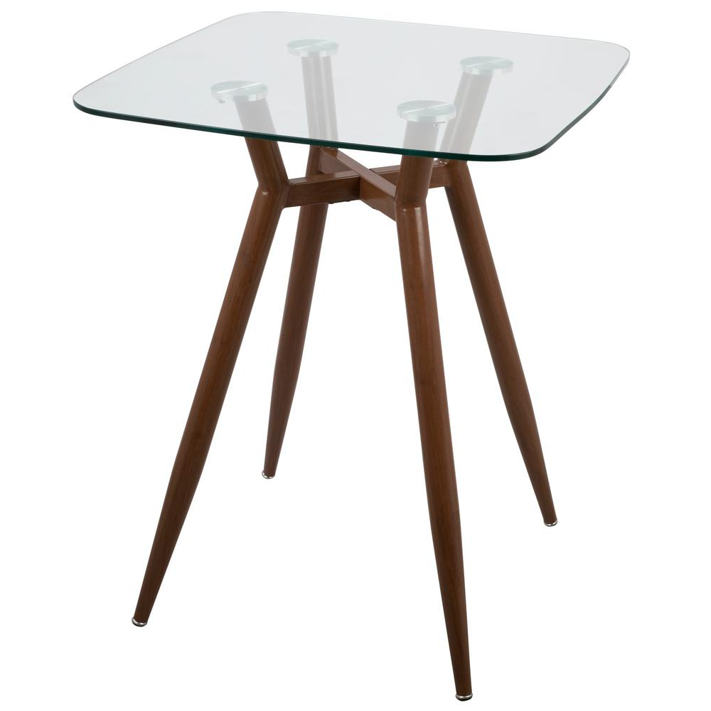 Latest Lumisource Clara Walnut Metal And Clear Glass Square Counter Inside Transitional Antique Walnut Square Casual Dining Tables (View 6 of 25)