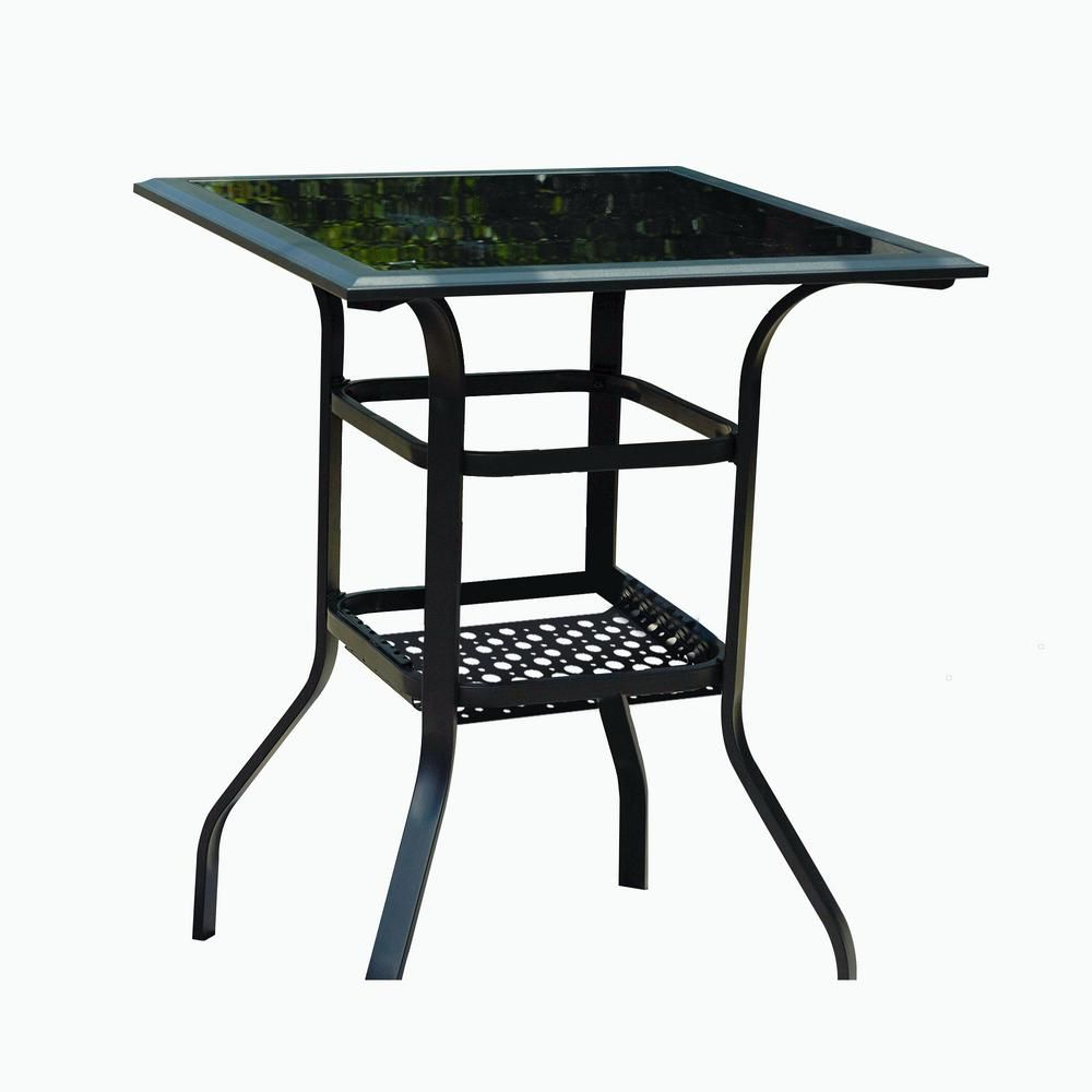 Latest Patio Festival Square Metal Bar Height Outdoor Dining Table Pertaining To Patio Square Bar Dining Tables (View 7 of 25)