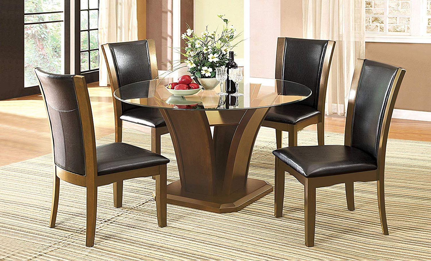 Latest Round Glass Top Dining Tables With Amazon – Sorell Contemporary Style Round Glass Top (View 5 of 25)
