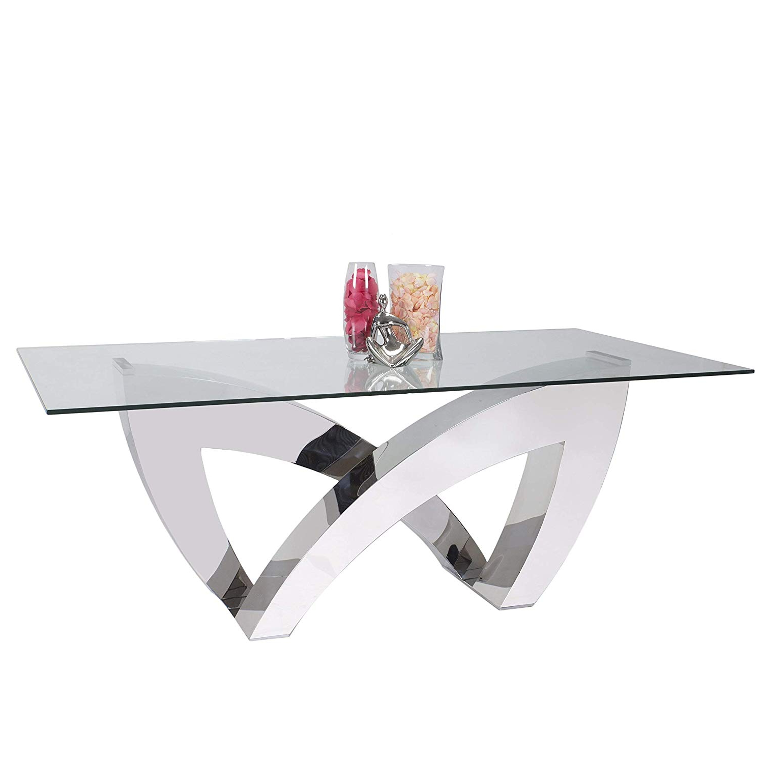 Latest Steel And Glass Rectangle Dining Tables Throughout Amazon – Somette Allison Clear Glass/stainless Steel (View 13 of 25)