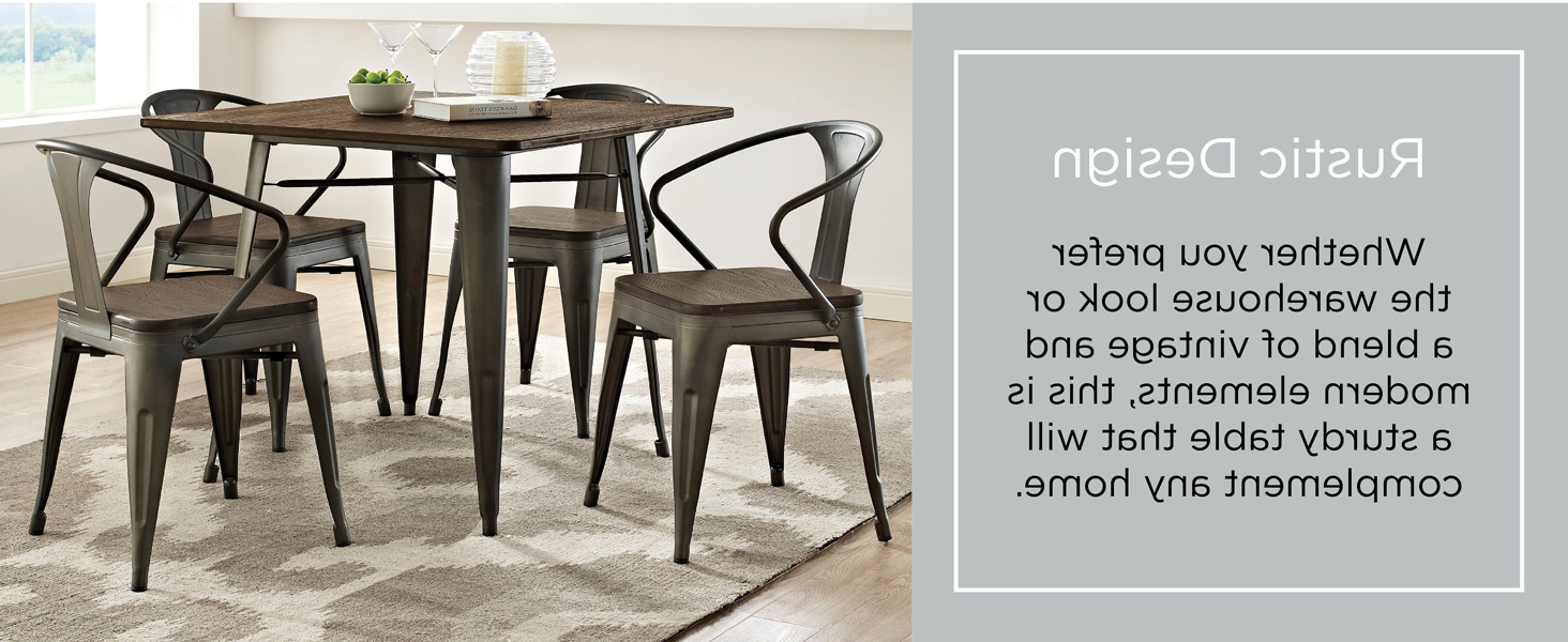 "Lexmod Mo Eei 2036 Brn Alacrity Rustic Modern Farmhouse Wood Square With  Steel Legs, 36"", Brown Throughout Most Recently Released Frosted Glass Modern Dining Tables With Grey Finish Metal Tapered Legs (View 15 of 25)"