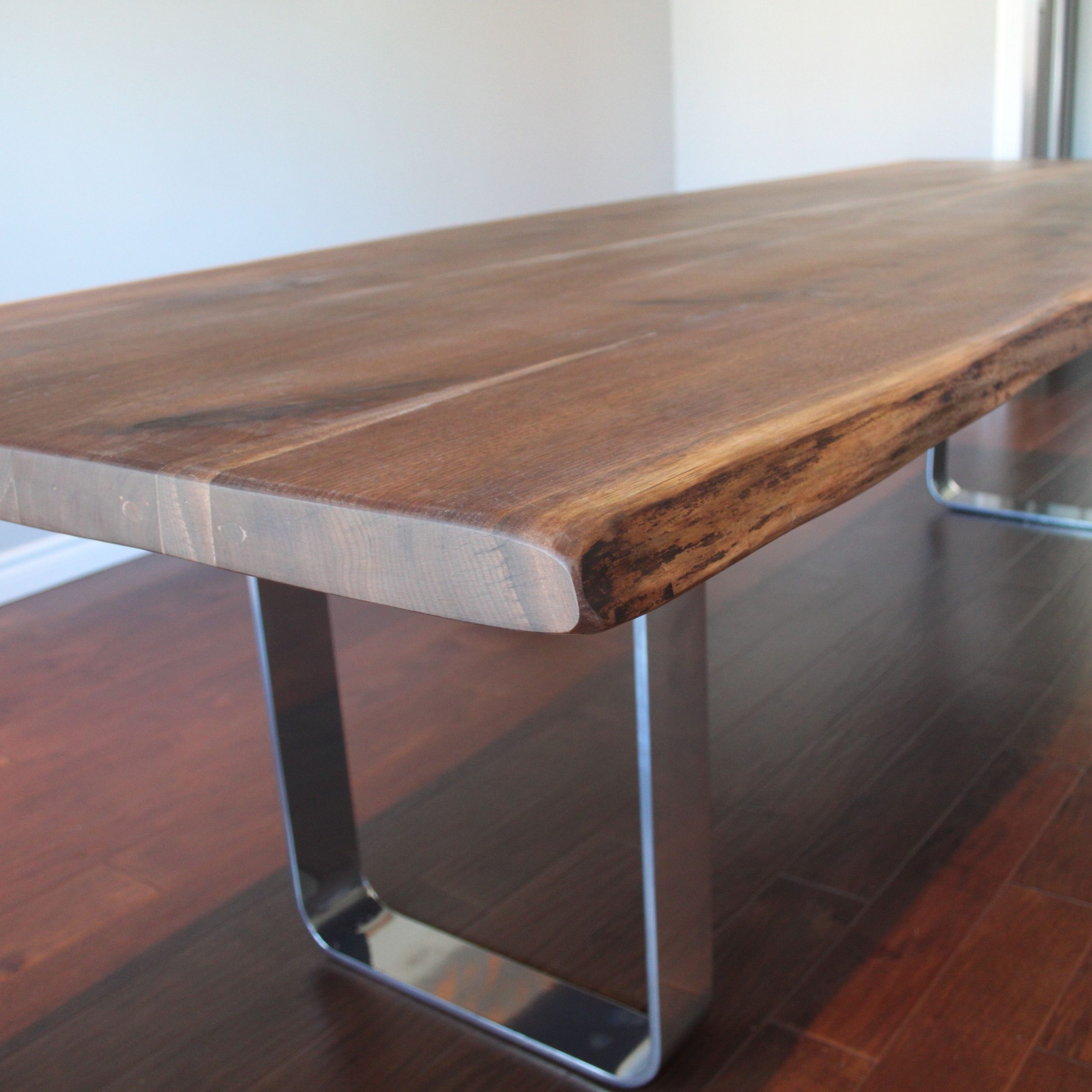 Living Wood Regarding Latest Walnut Finish Live Edge Wood Contemporary Dining Tables (View 12 of 25)