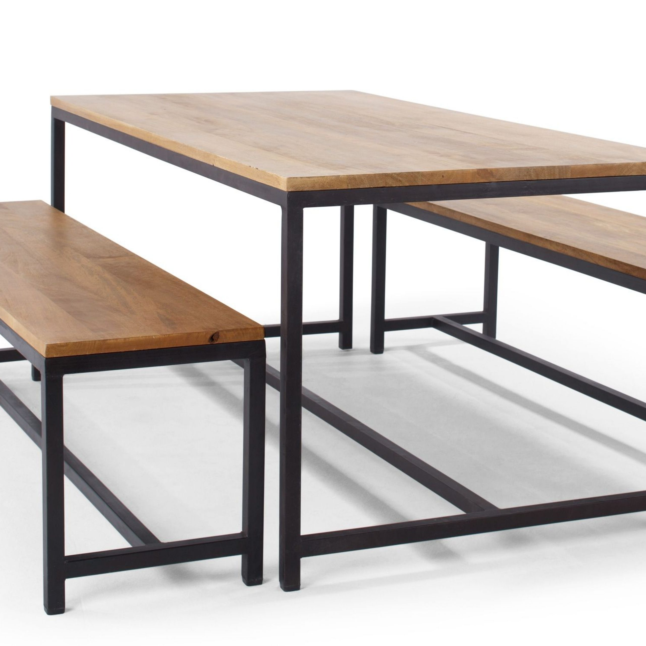 Lomond Dining Set, Natural Mango Wood And Black Metal For Most Recent Iron Dining Tables With Mango Wood (View 13 of 25)
