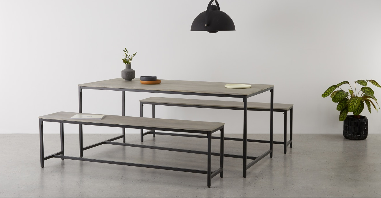 Lomond Dining Table And Bench Set, Grey Washed Mango Wood Inside Favorite Iron Dining Tables With Mango Wood (View 18 of 25)