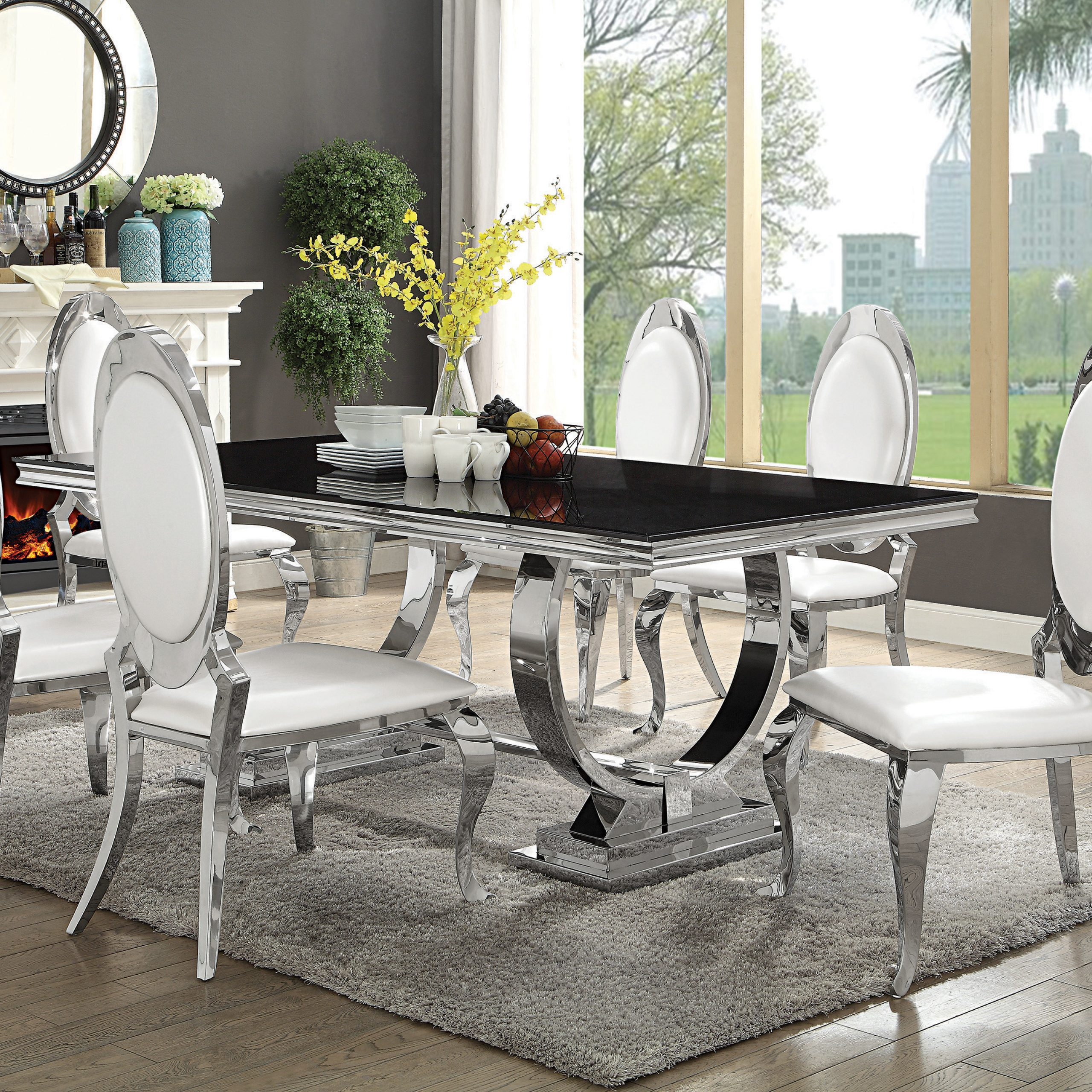 Long Dining Tables With Polished Black Stainless Steel Base For Most Current Antoine Rectangular Dining Table Chrome And Black – Coaster (View 19 of 25)