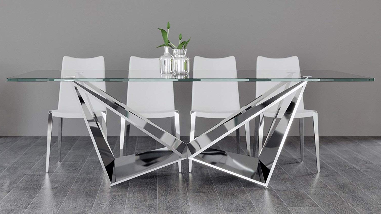 Featured Photo of Long Dining Tables With Polished Black Stainless Steel Base