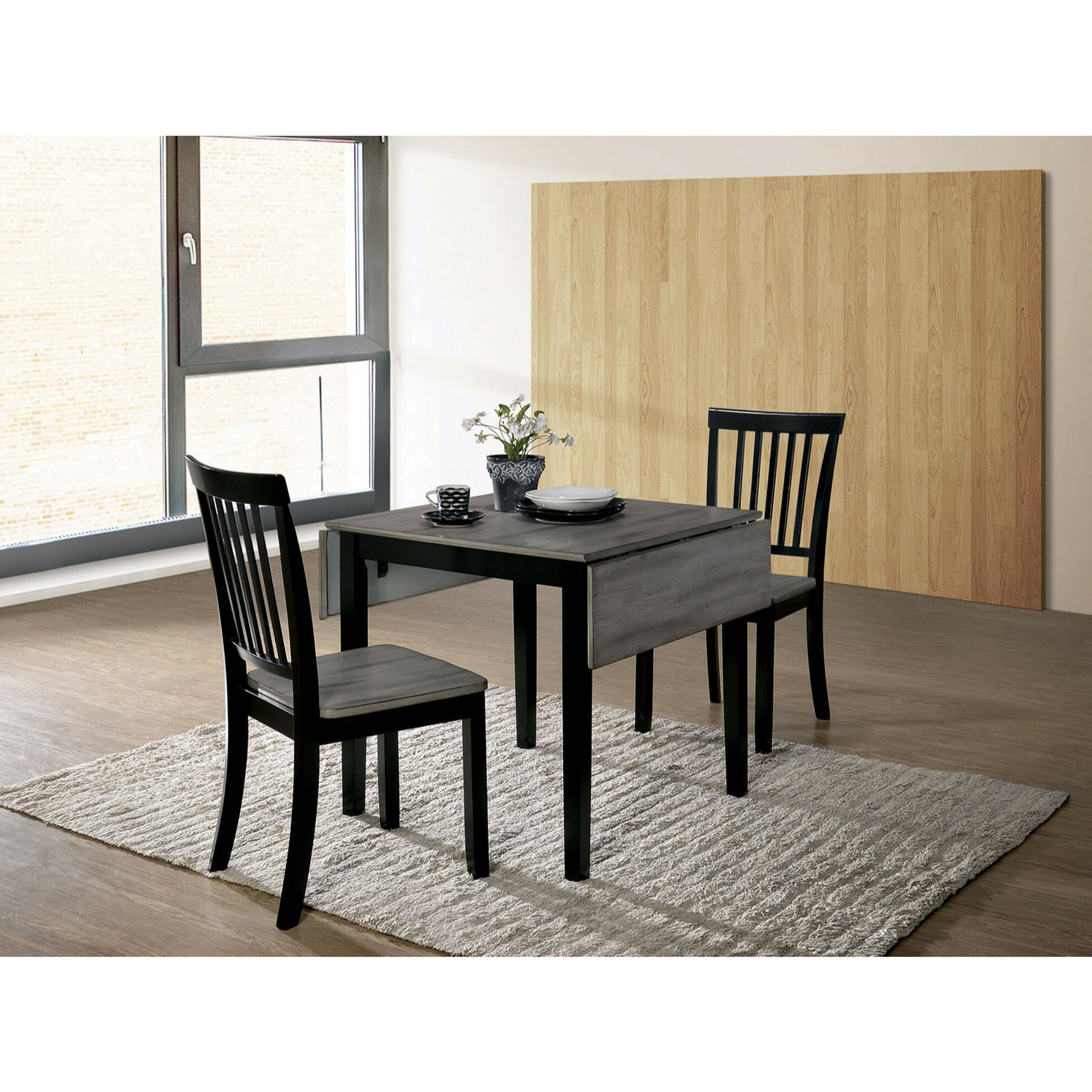 Maone Transitional 3 Piece Drop Leaf Solid Wood Dining Set Inside Recent Transitional 3 Piece Drop Leaf Casual Dining Tables Set (View 10 of 25)