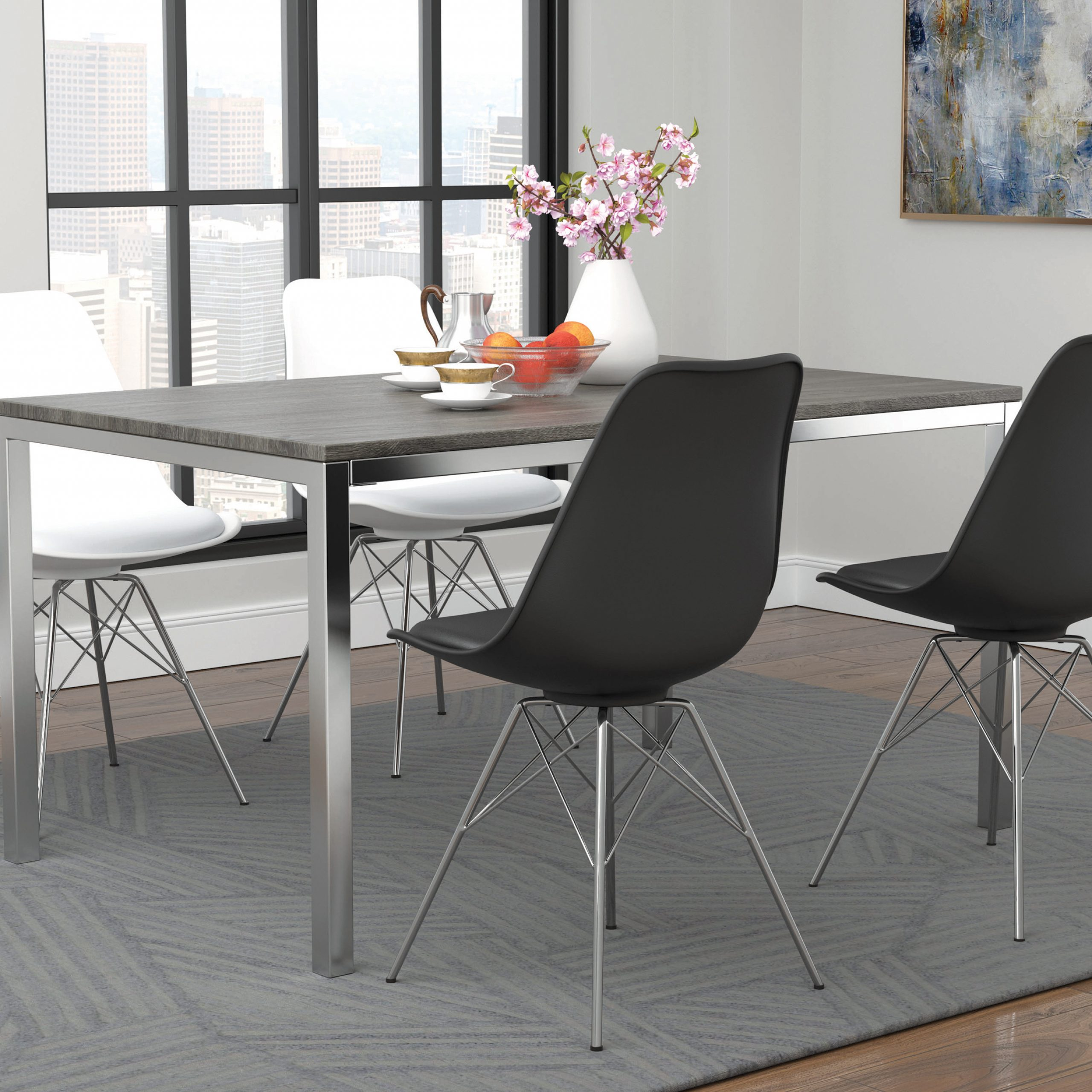 Mckenzie Rectangular Dining Table Weathered Grey And Chrome Inside Most Recent Chrome Contemporary Square Casual Dining Tables (View 23 of 25)