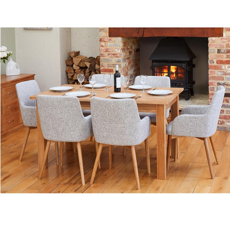 Medium Dining Tables With Latest Oak Medium Dining Table With 6 Light Grey Oak Chairs (View 13 of 25)