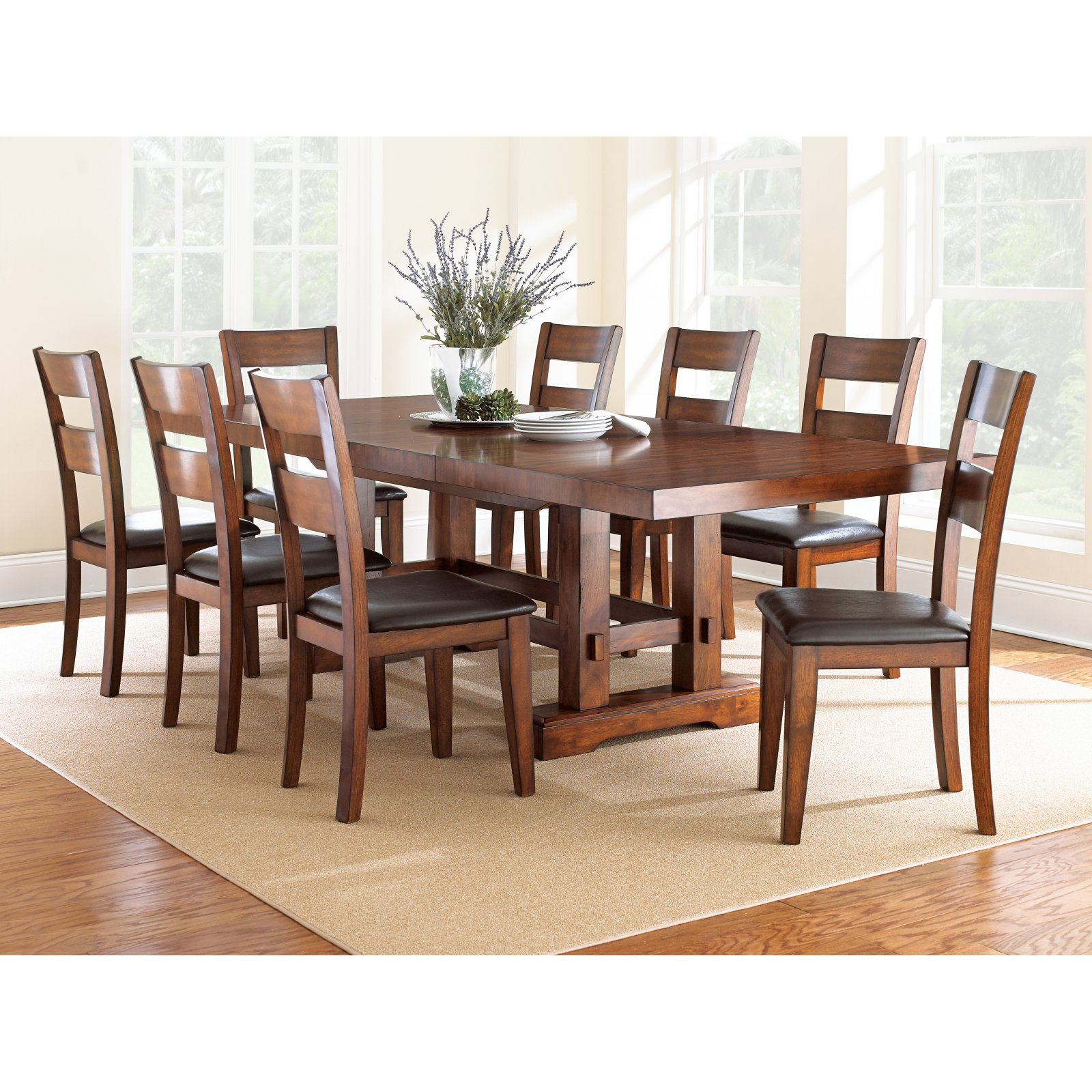 Medium Dining Tables Within Newest Steve Silver Zappa 9 Piece Dining Table Set – Medium Cherry (View 25 of 25)
