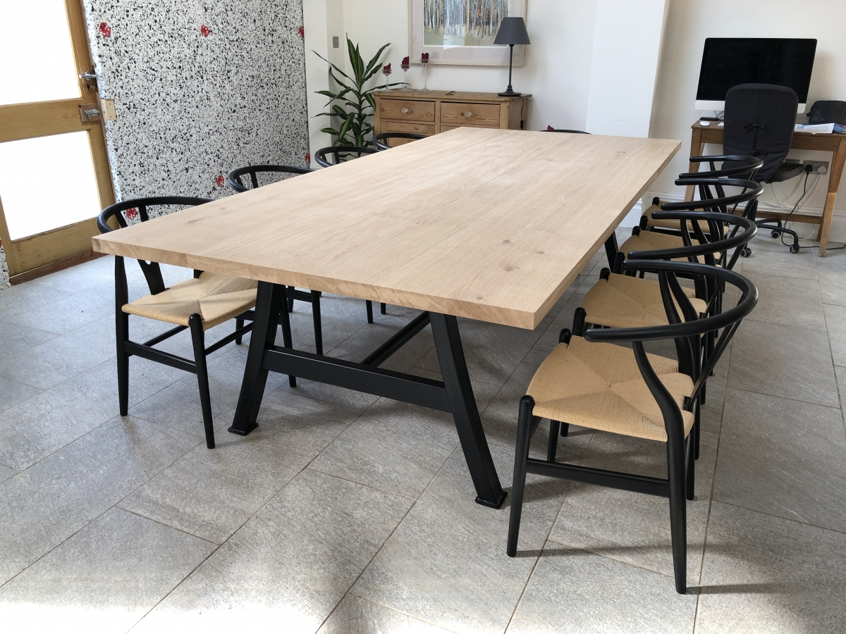 Metal And Wood Dining Table With Bench Fantasy Tables Pertaining To Current Iron Wood Dining Tables With Metal Legs (View 9 of 25)