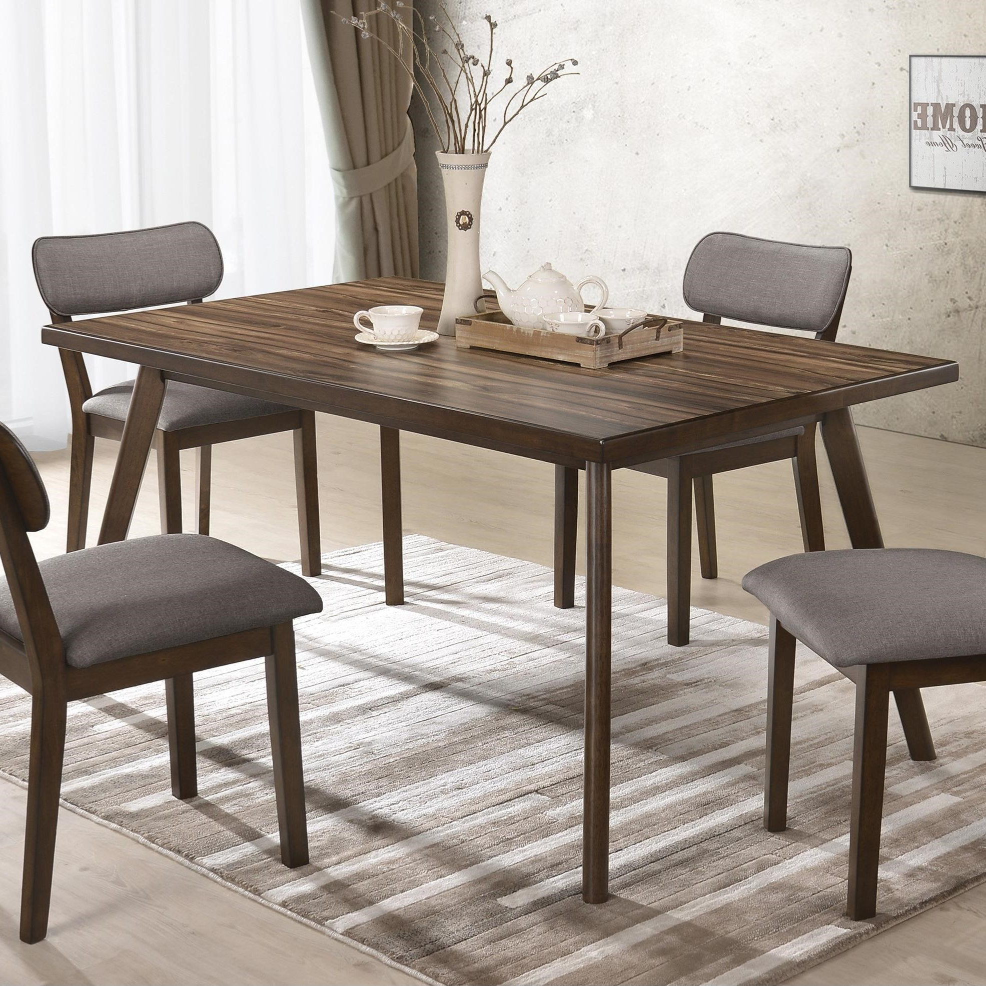 Mid Century Rectangular Top Dining Tables With Wood Legs Intended For 2019 Crown Mark Gina 2247T 3659 Mid Century Modern Dining Table (View 12 of 25)