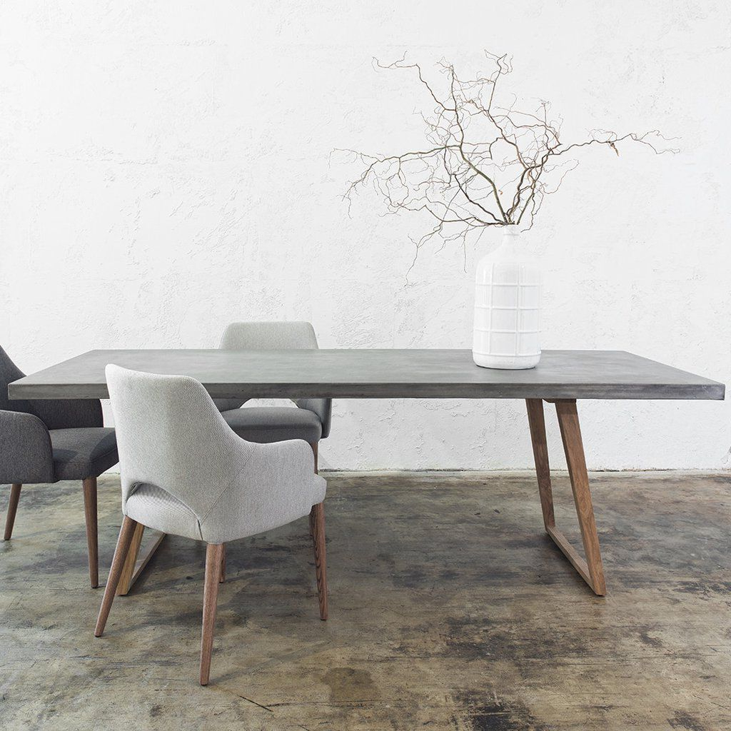 Mid Century Rectangular Top Dining Tables With Wood Legs Throughout Preferred Concrete Dining Table Scandi Teak Leg (View 7 of 25)