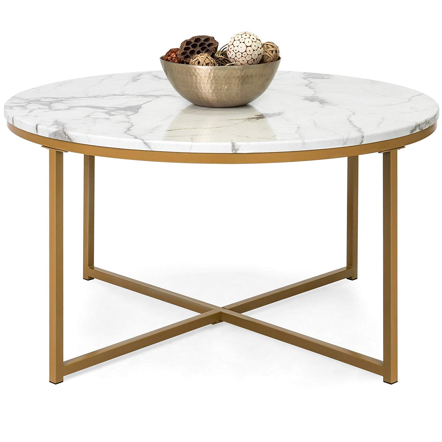 Modern Coffee Table With Gold Frame And Faux Marble Top Within Most Popular Faux Marble Finish Metal Contemporary Dining Tables (View 15 of 25)