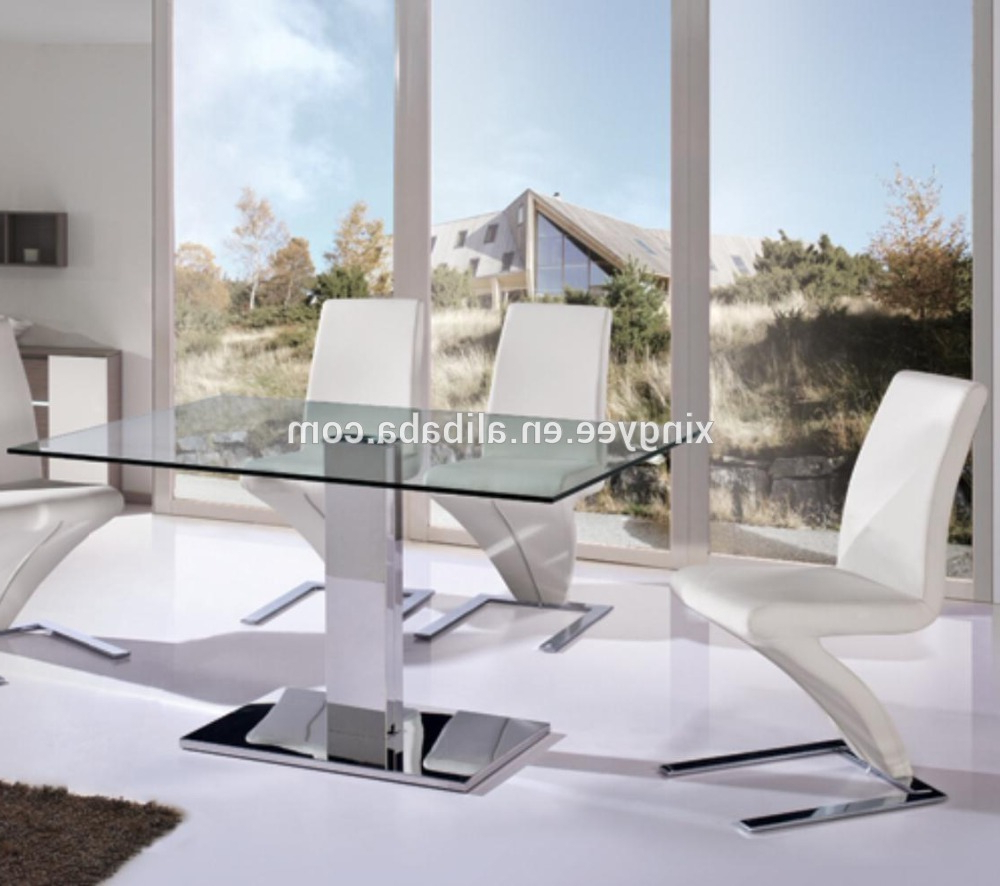 Modern Glass Top Extension Dining Tables In Stainless Regarding Most Up To Date Modern Living Dining Furniture Homes Dining Table Stainless Steel Centre Table Design Tempered Glass Top Luxury Dining Table Set – Buy Stainless Steel (View 25 of 25)