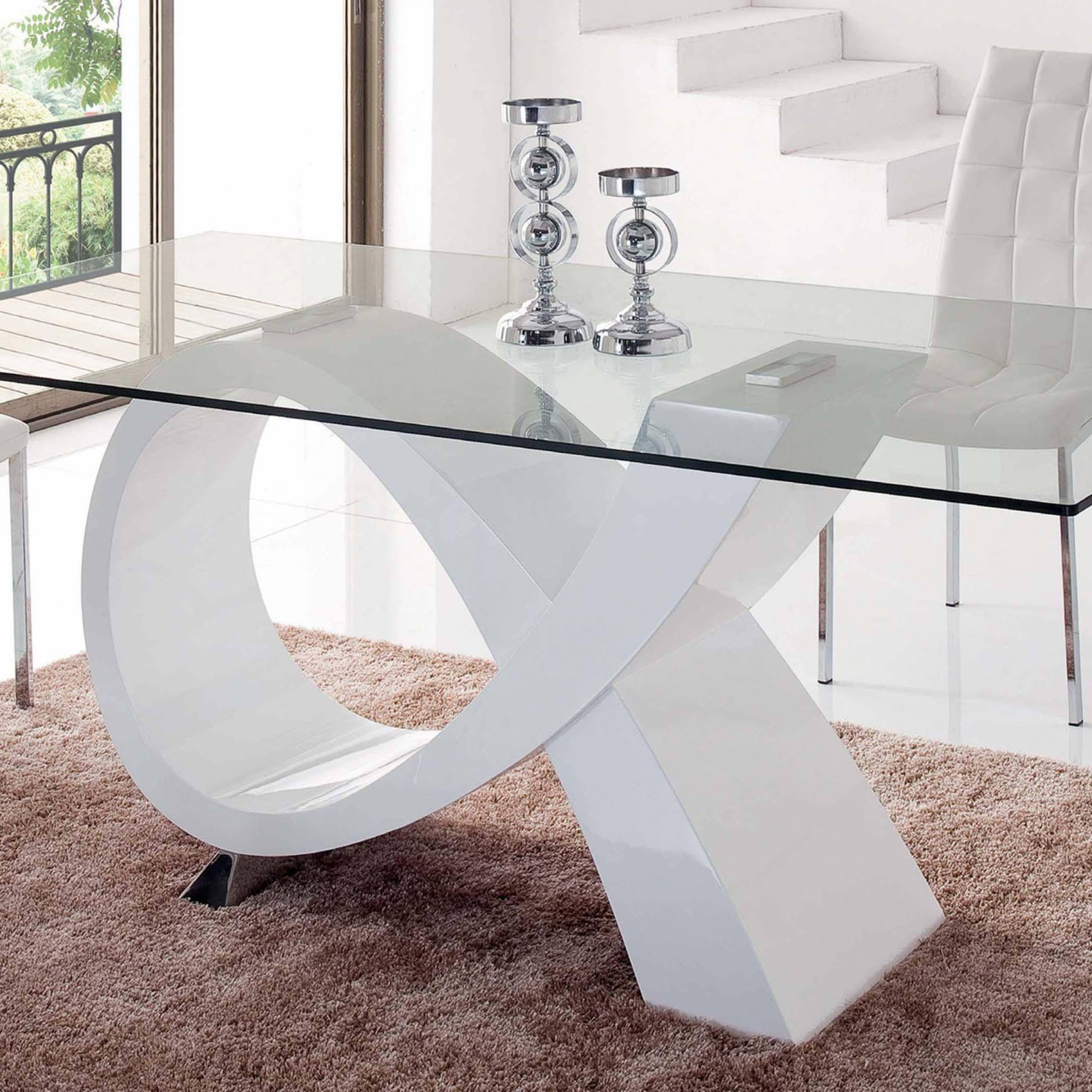 Modern Rectangular Glass Top High Gloss Finish White Dining With Regard To Most Recently Released Rectangular Glass Top Dining Tables (View 8 of 25)