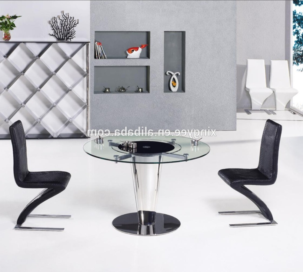 Modern Round Dining Room Table Furniture Design Rotating Centre Dining Table Tempered Glass Top Swivel Dining Table Set – Buy Round Dining Table With With Regard To 2019 Modern Round Glass Top Dining Tables (View 11 of 25)