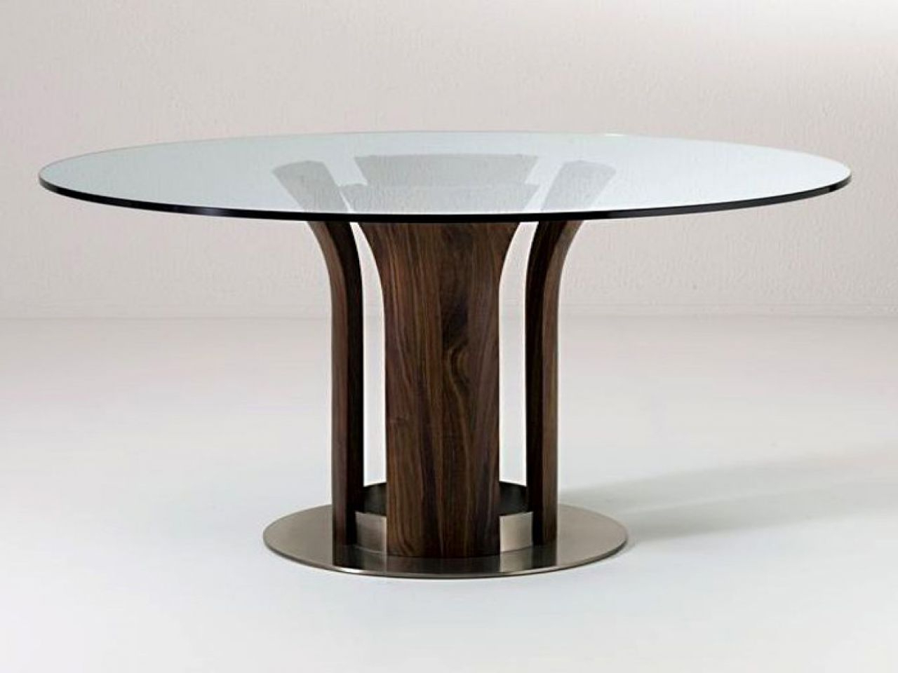 Modern Round Glass Top Dining Tables For Newest Glass Top Dining Room Sets Round Table Modern With Wooden (View 17 of 25)