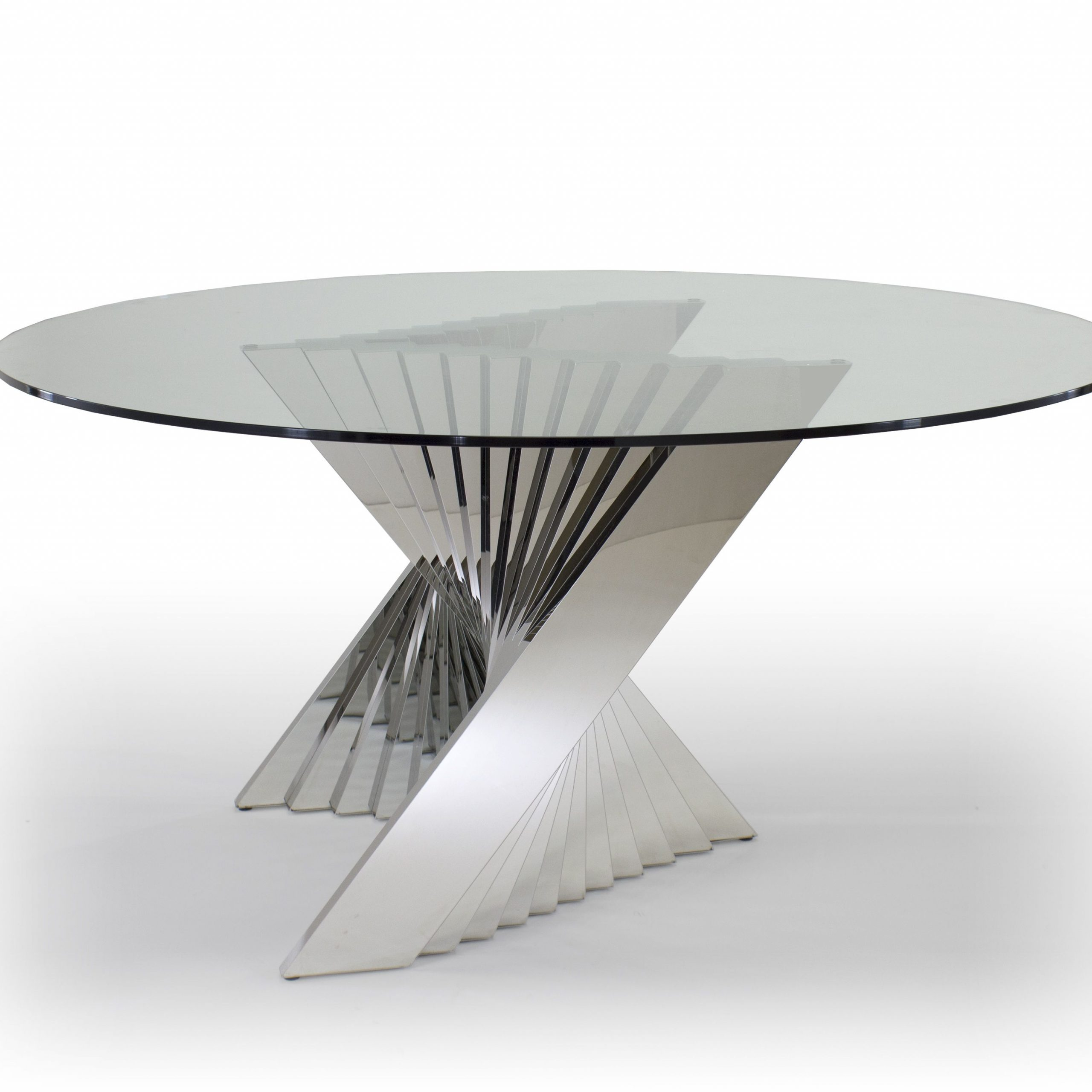 Modern Round Glass Top Dining Tables Pertaining To Most Current Ace Dining Table – Round Glass Top And Metal Base Dining (View 4 of 25)